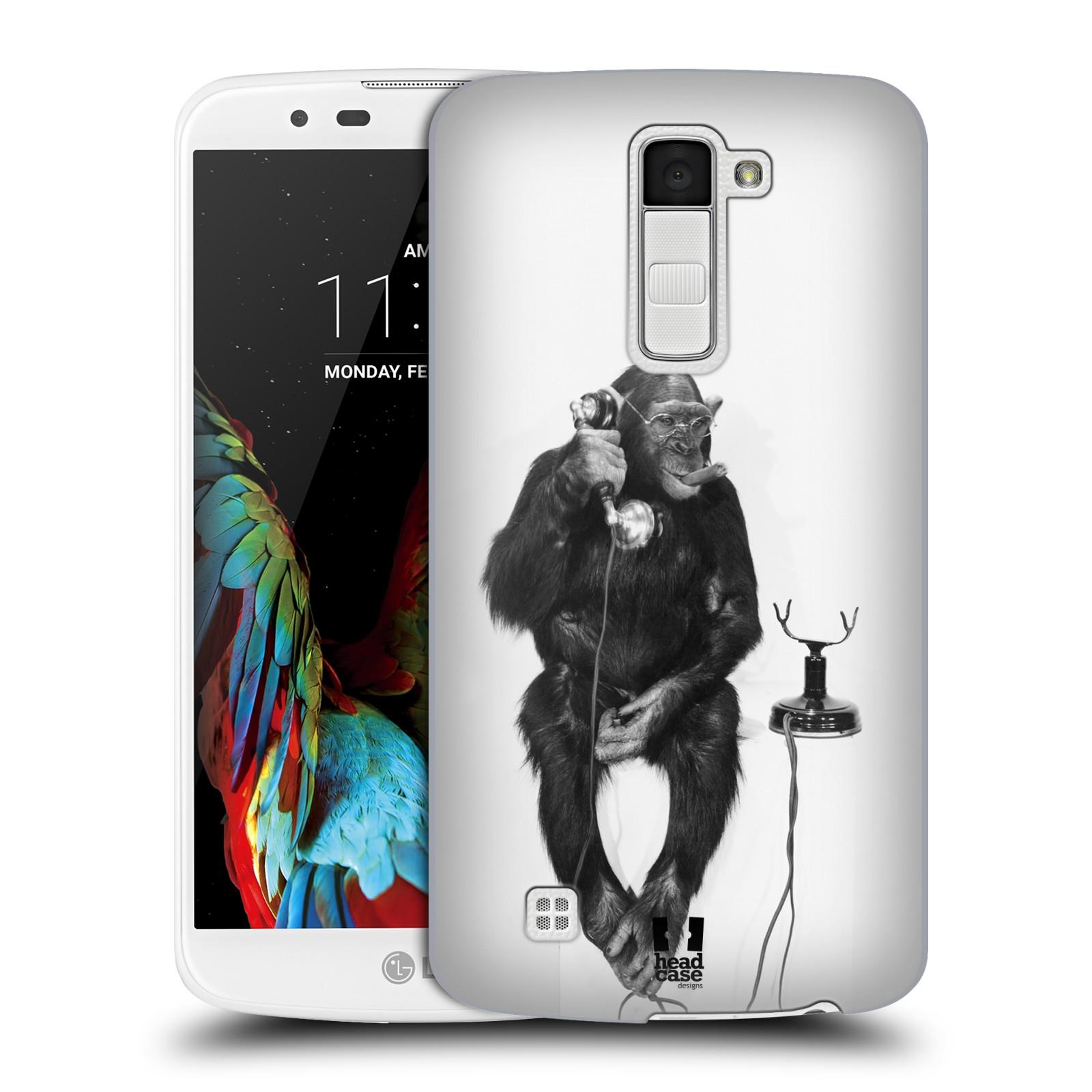 Plastové pouzdro na mobil LG K10 HEAD CASE OPIČÁK S TELEFONEM (Kryt či obal na mobilní telefon LG K10)