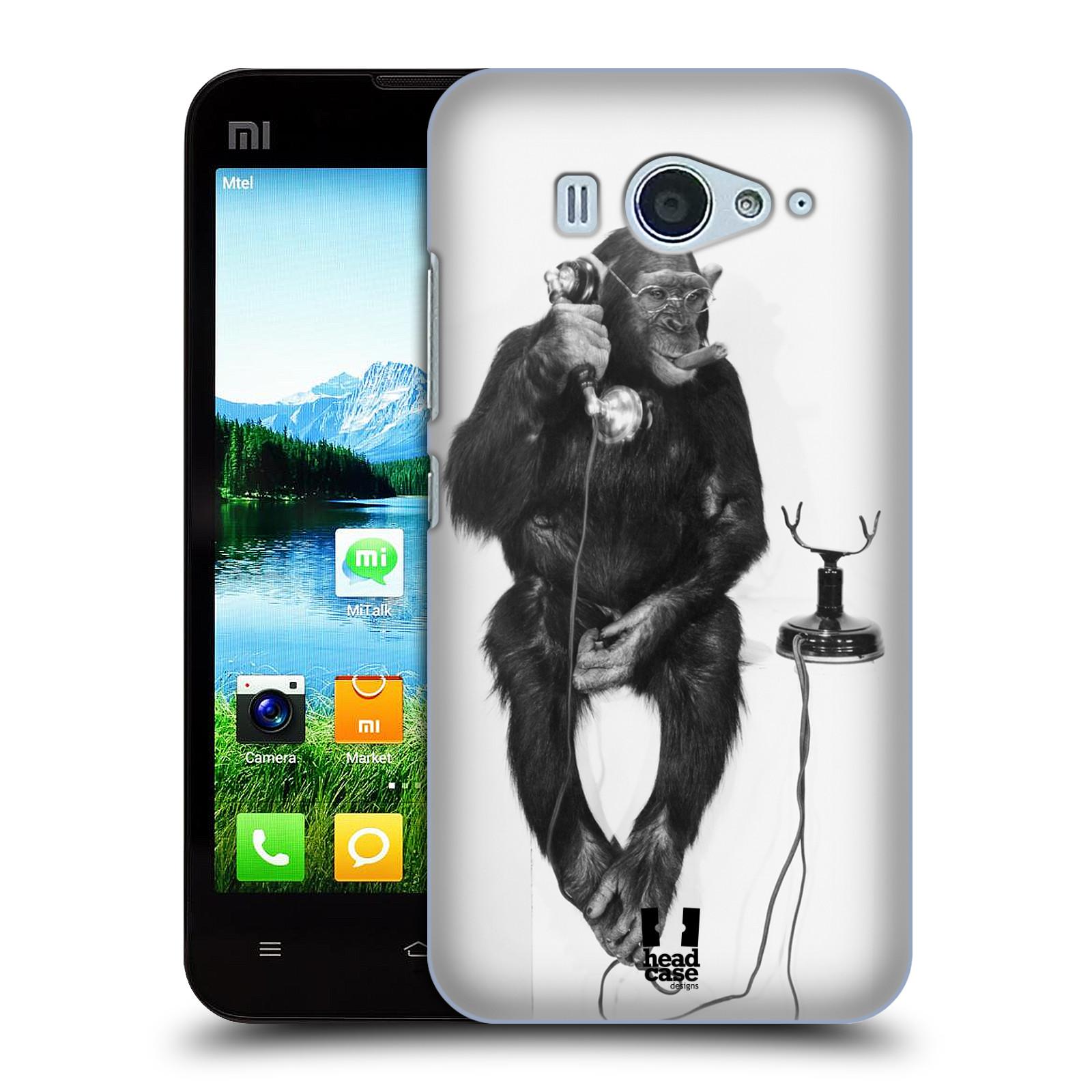 Plastové pouzdro na mobil Xiaomi Mi2S HEAD CASE OPIČÁK S TELEFONEM (Kryt či obal na mobilní telefon Xiaomi Mi2S)