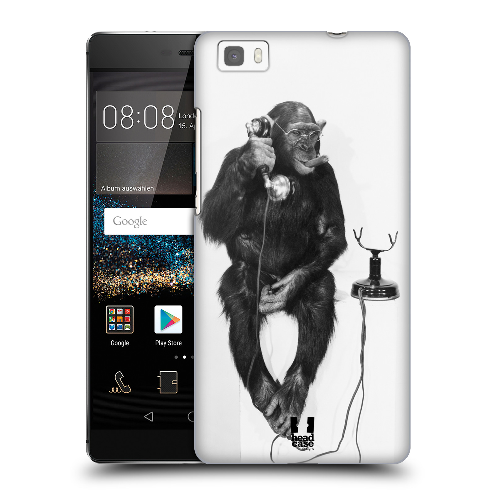 Plastové pouzdro na mobil Huawei P8 Lite HEAD CASE OPIČÁK S TELEFONEM (Kryt či obal na mobilní telefon Huawei Ascend P8 Lite)