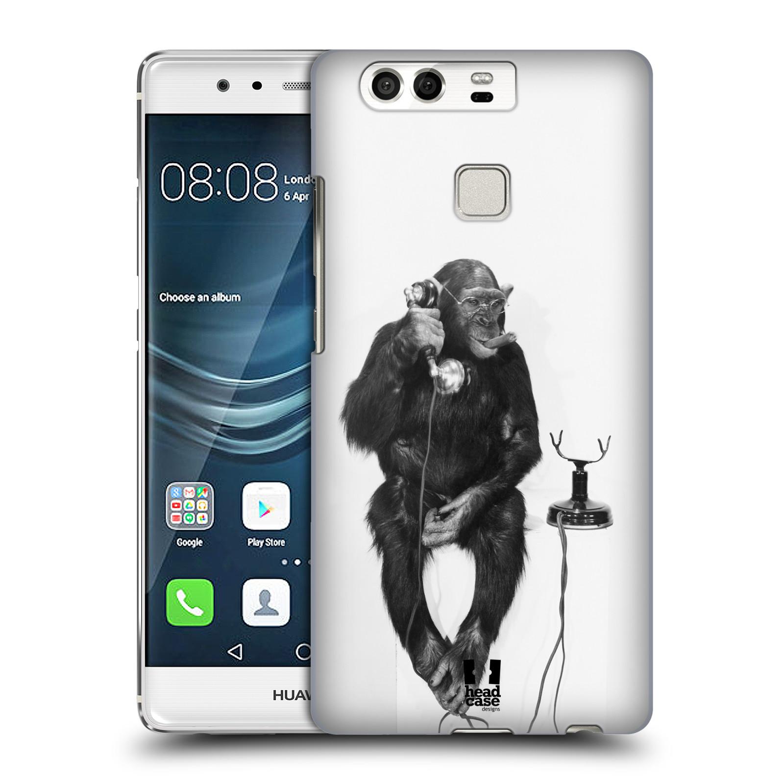Plastové pouzdro na mobil Huawei P9 HEAD CASE OPIČÁK S TELEFONEM (Plastový kryt či obal na mobilní telefon Huawei P9)