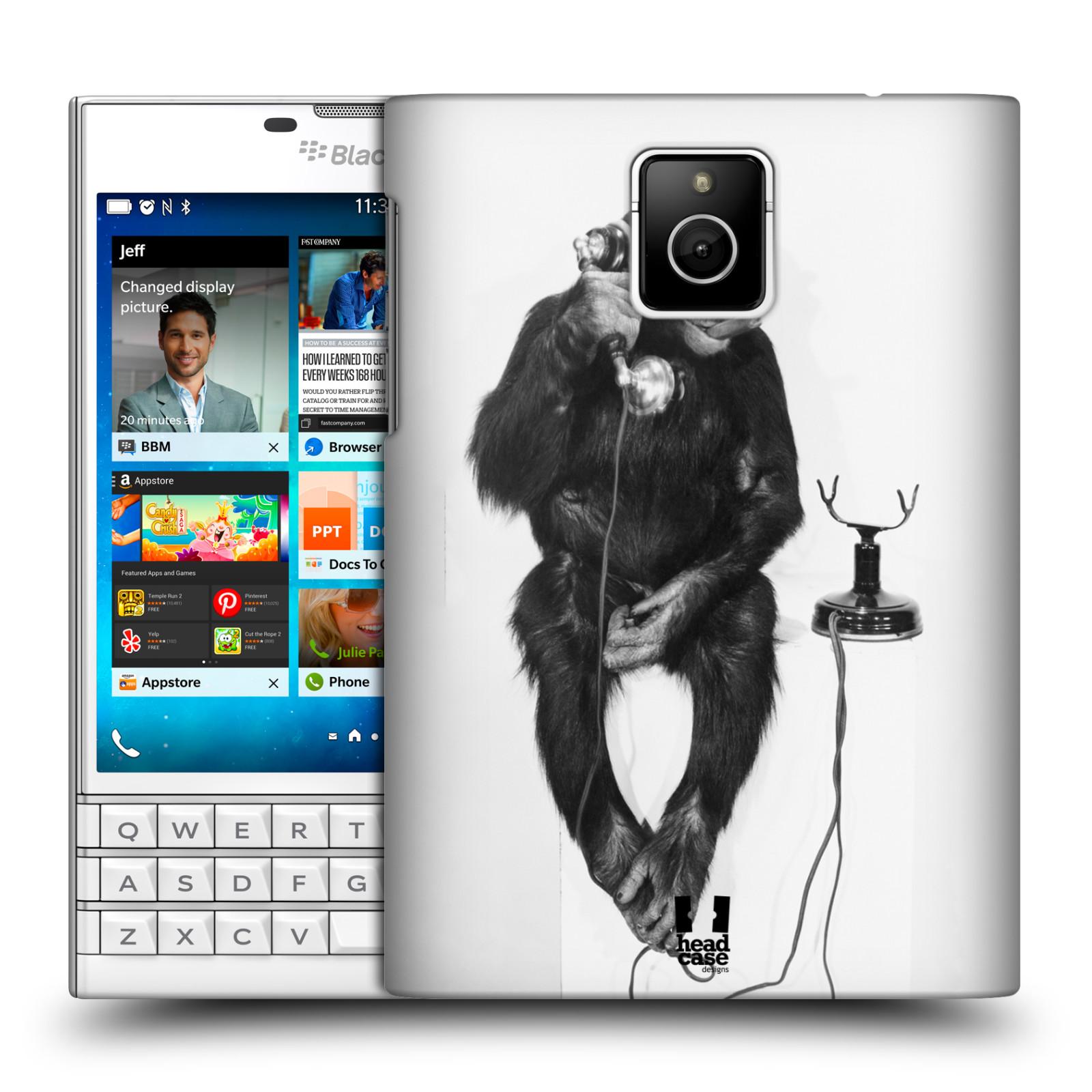 Plastové pouzdro na mobil Blackberry PASSPORT HEAD CASE OPIČÁK S TELEFONEM (Kryt či obal na mobilní telefon Blackberry PASSPORT)