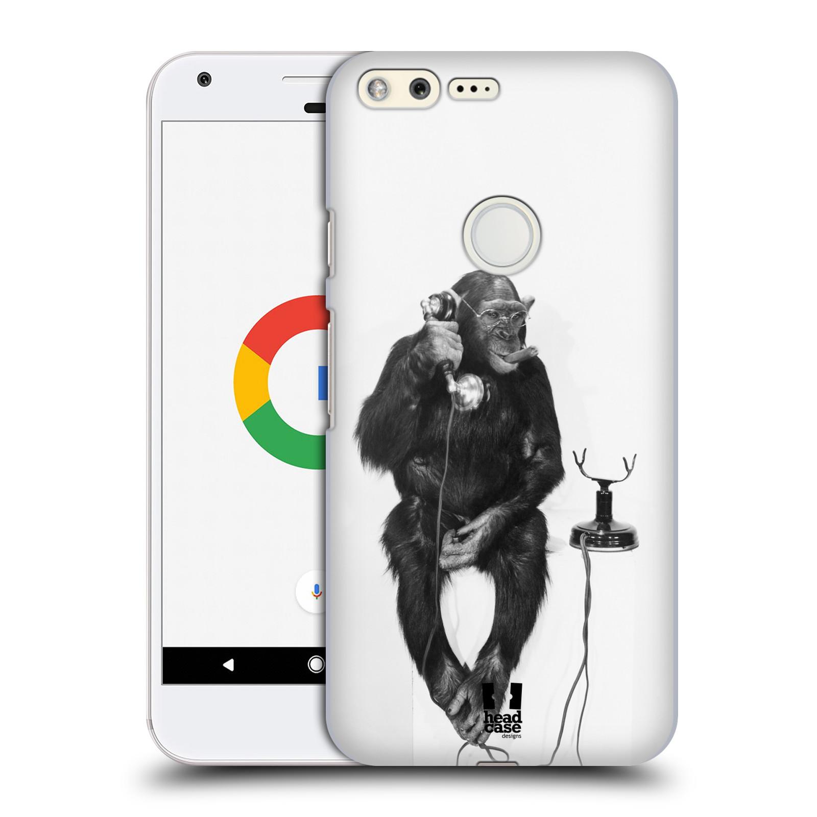 Plastové pouzdro na mobil Google Pixel HEAD CASE OPIČÁK S TELEFONEM (Plastový kryt či obal na mobilní telefon Google Pixel)