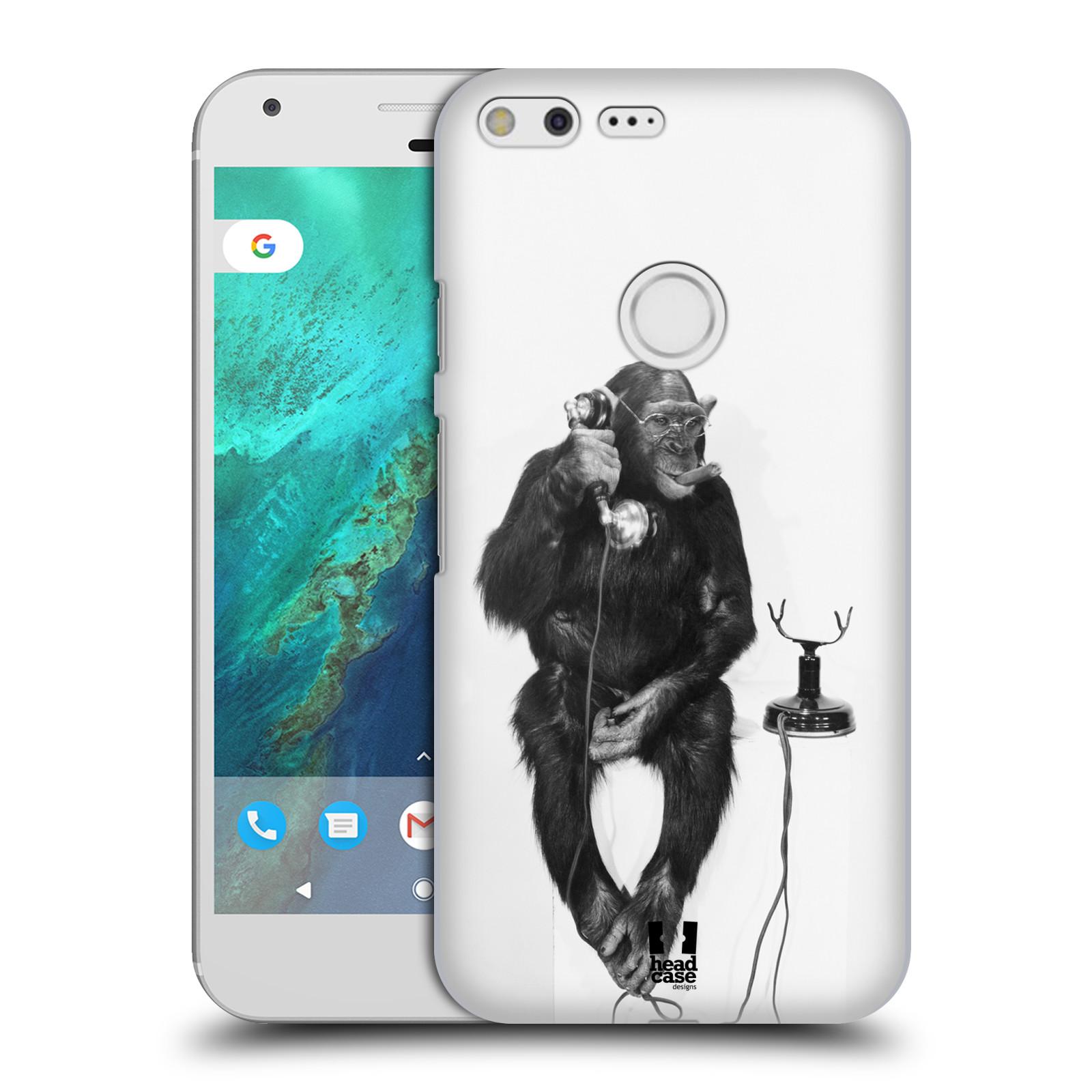 Plastové pouzdro na mobil Google Pixel XL HEAD CASE OPIČÁK S TELEFONEM (Plastový kryt či obal na mobilní telefon Google Pixel XL)