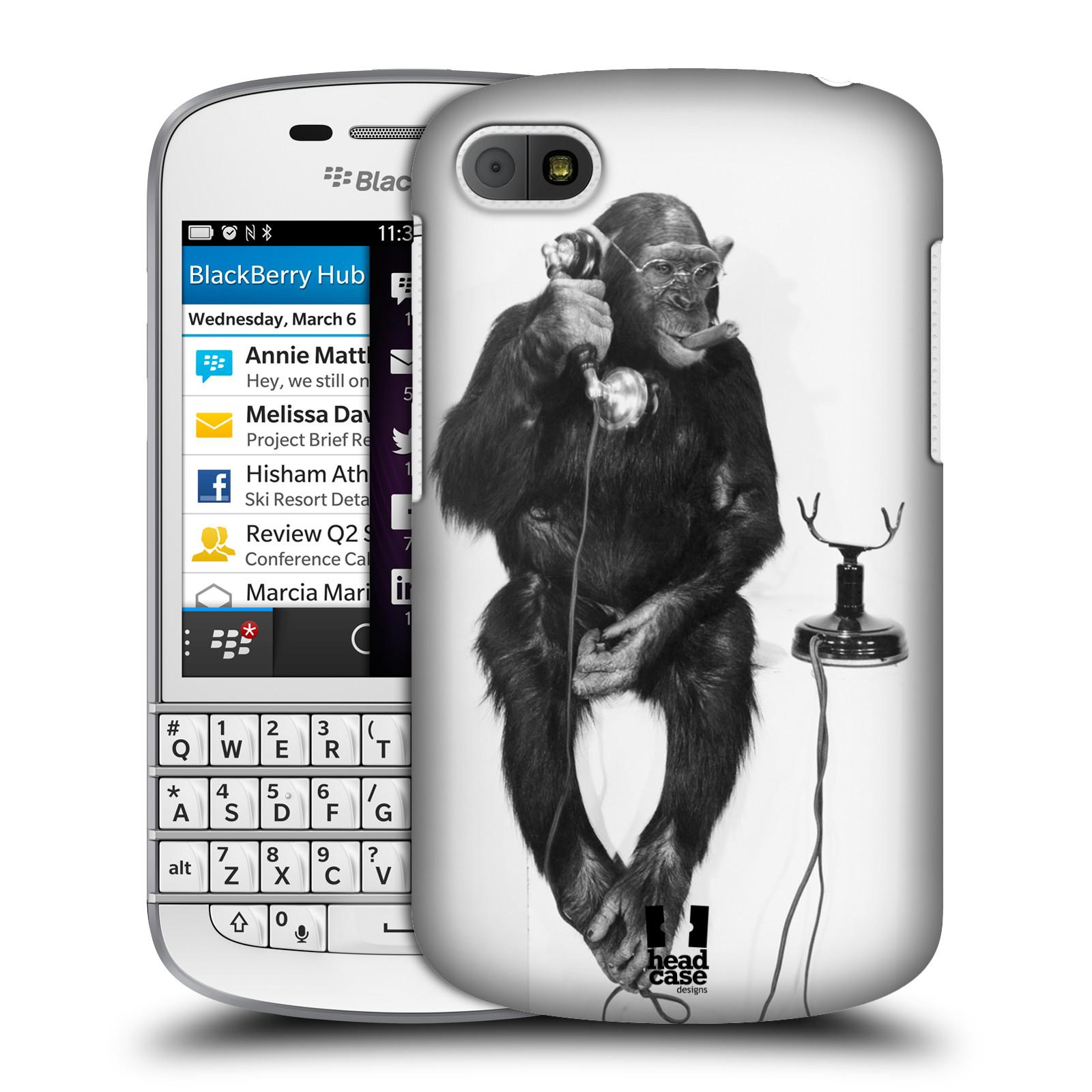 Plastové pouzdro na mobil Blackberry Q10 HEAD CASE OPIČÁK S TELEFONEM (Kryt či obal na mobilní telefon Blackberry Q10)