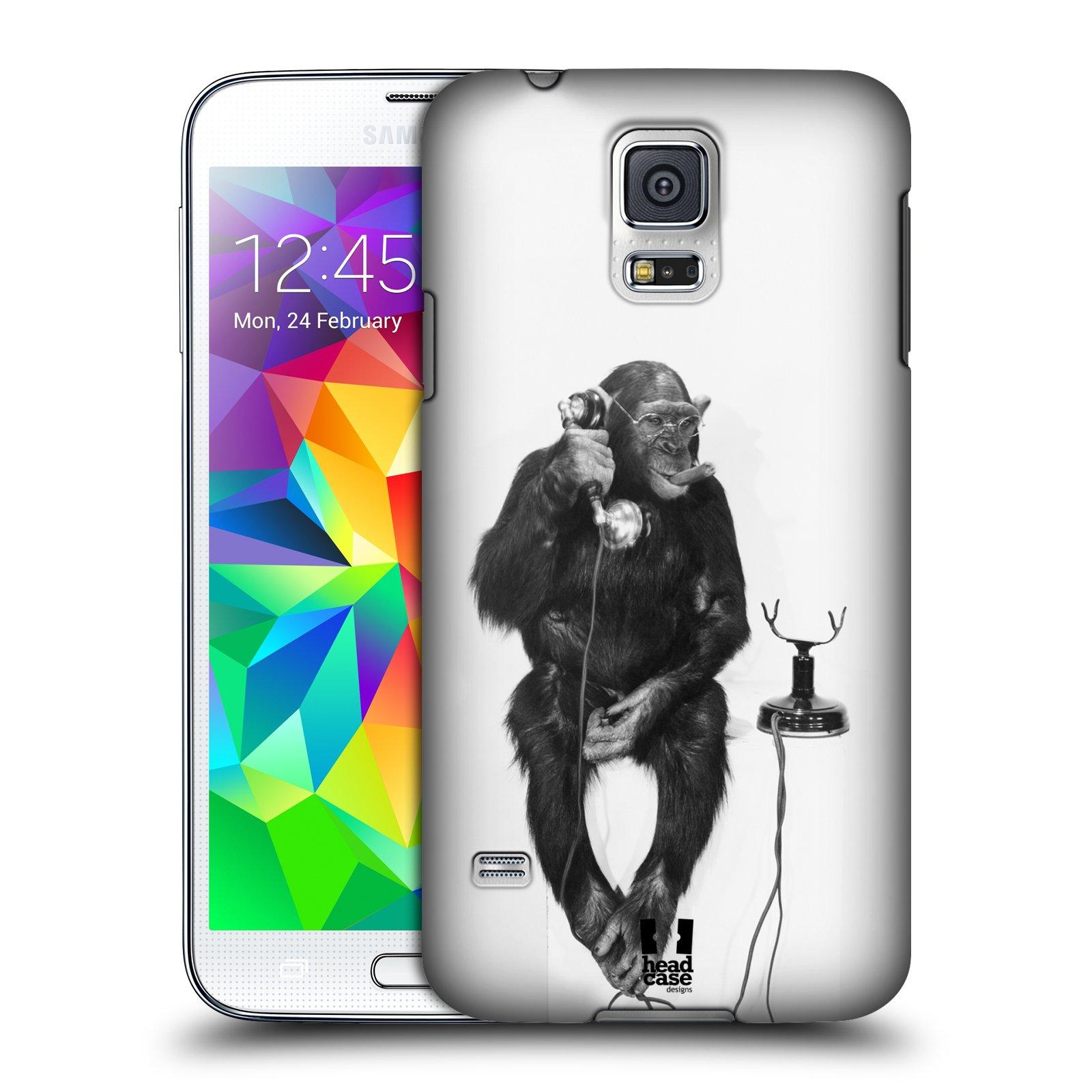 Plastové pouzdro na mobil Samsung Galaxy S5 HEAD CASE OPIČÁK S TELEFONEM (Kryt či obal na mobilní telefon Samsung Galaxy S5 SM-G900F)