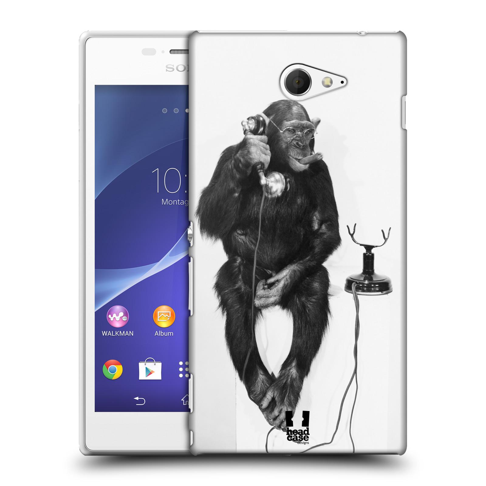 Plastové pouzdro na mobil Sony Xperia M2 D2303 HEAD CASE OPIČÁK S TELEFONEM (Kryt či obal na mobilní telefon Sony Xperia M2 )