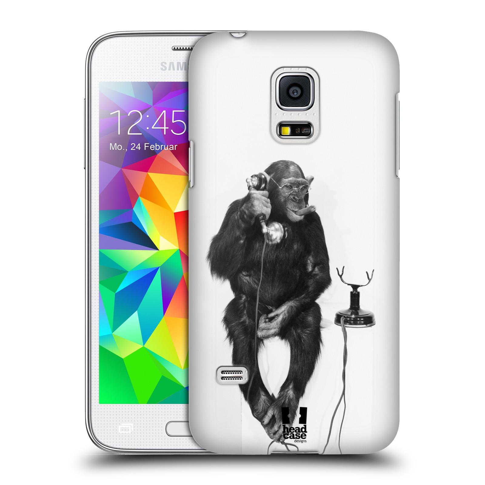 Plastové pouzdro na mobil Samsung Galaxy S5 Mini HEAD CASE OPIČÁK S TELEFONEM (Kryt či obal na mobilní telefon Samsung Galaxy S5 Mini SM-G800F)