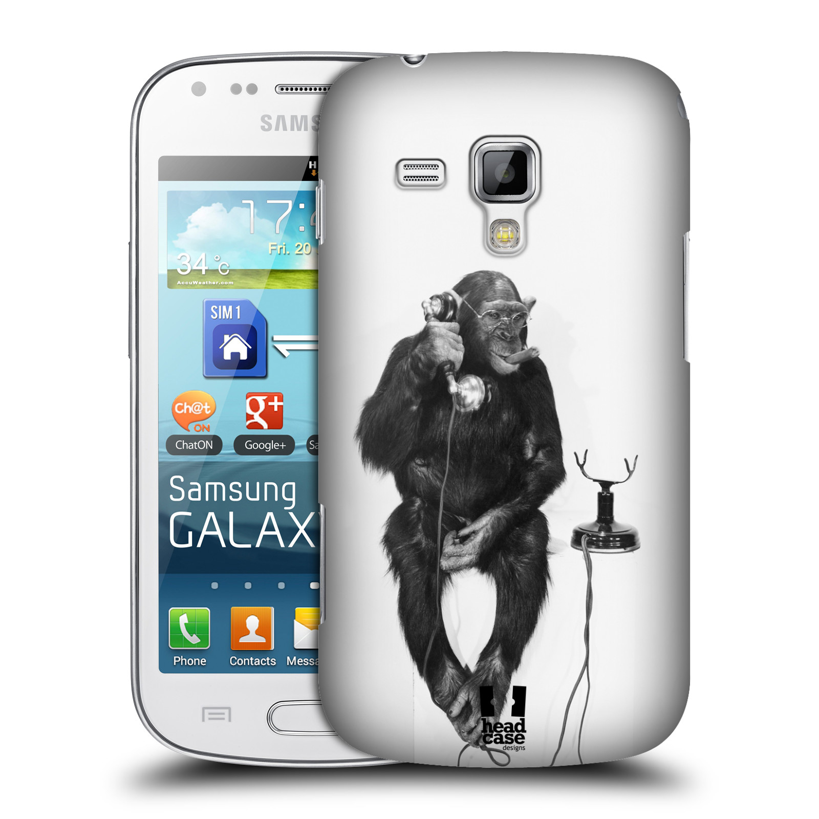 Plastové pouzdro na mobil Samsung Galaxy Trend Plus HEAD CASE OPIČÁK S TELEFONEM (Kryt či obal na mobilní telefon Samsung Galaxy Trend Plus GT-S7580)