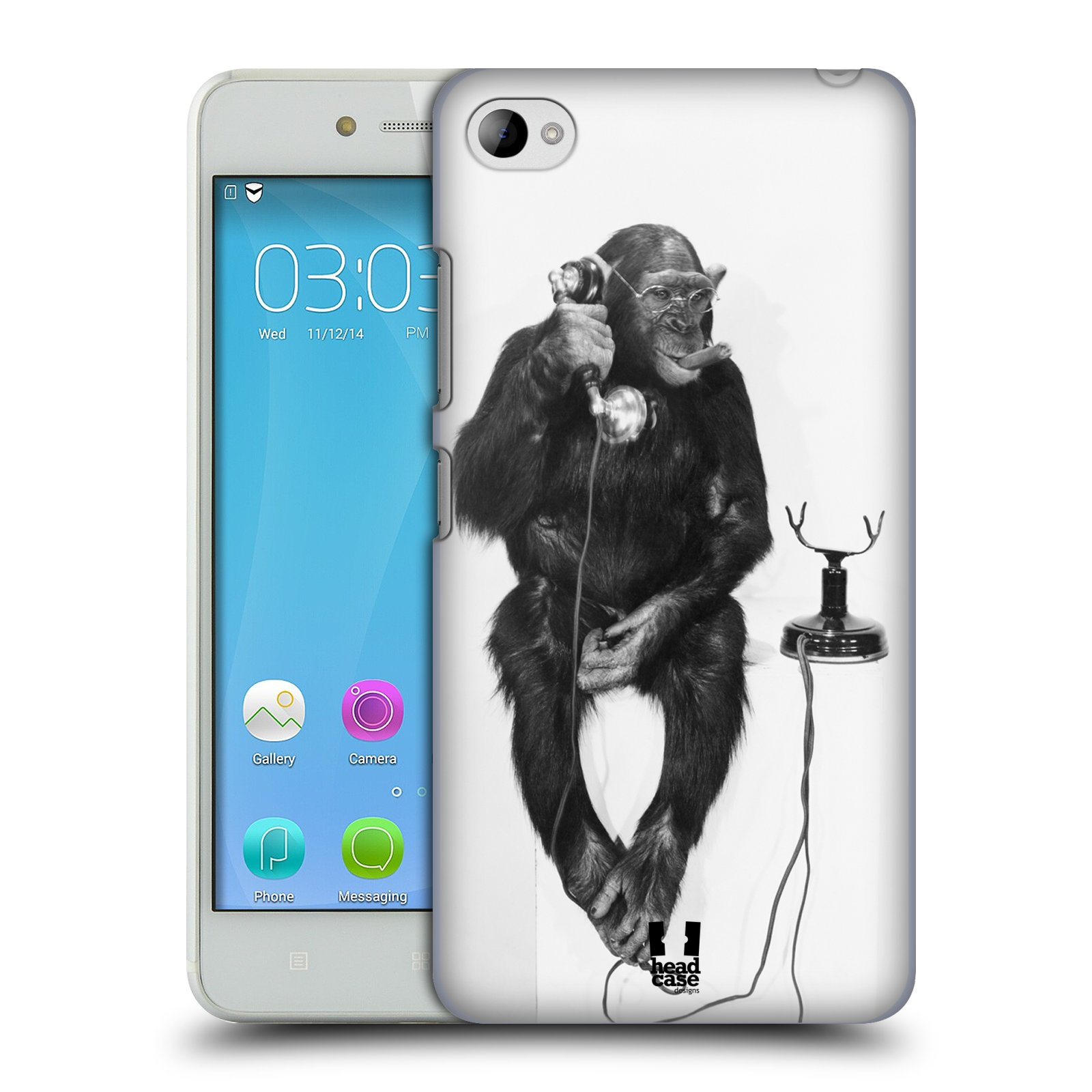 Plastové pouzdro na mobil Lenovo S90 HEAD CASE OPIČÁK S TELEFONEM (Kryt či obal na mobilní telefon Lenovo S90)