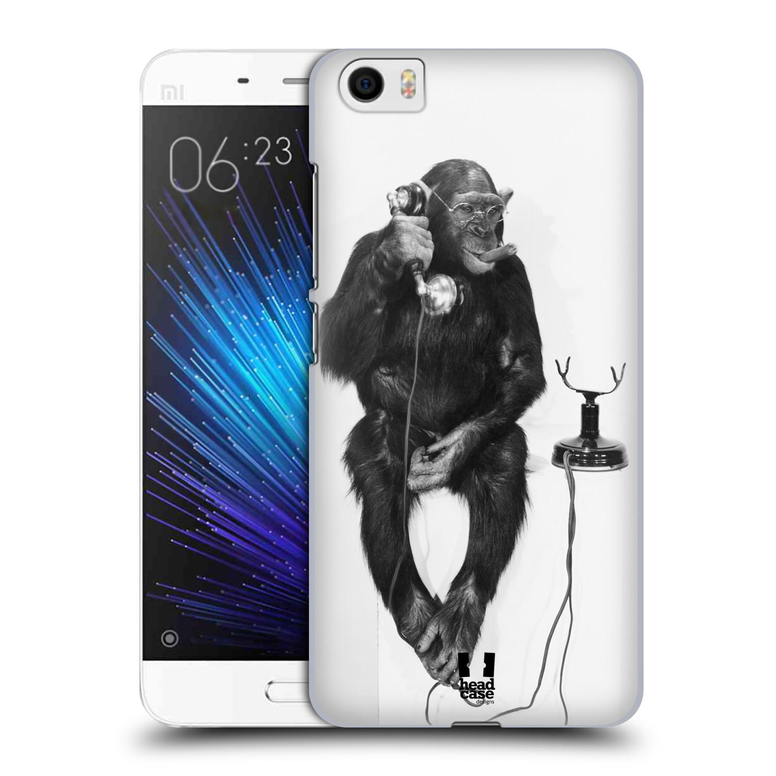 Plastové pouzdro na mobil Xiaomi Mi5 HEAD CASE OPIČÁK S TELEFONEM (Plastový kryt či obal na mobilní telefon Xiaomi Mi5)