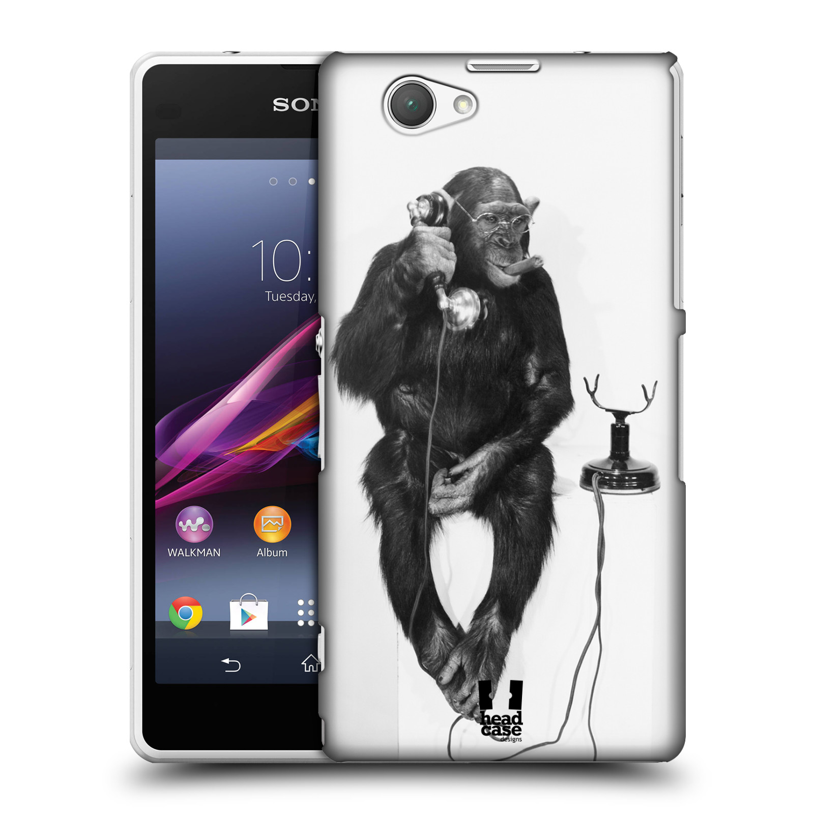Plastové pouzdro na mobil Sony Xperia Z1 Compact D5503 HEAD CASE OPIČÁK S TELEFONEM (Kryt či obal na mobilní telefon Sony Xperia Z1 Compact )