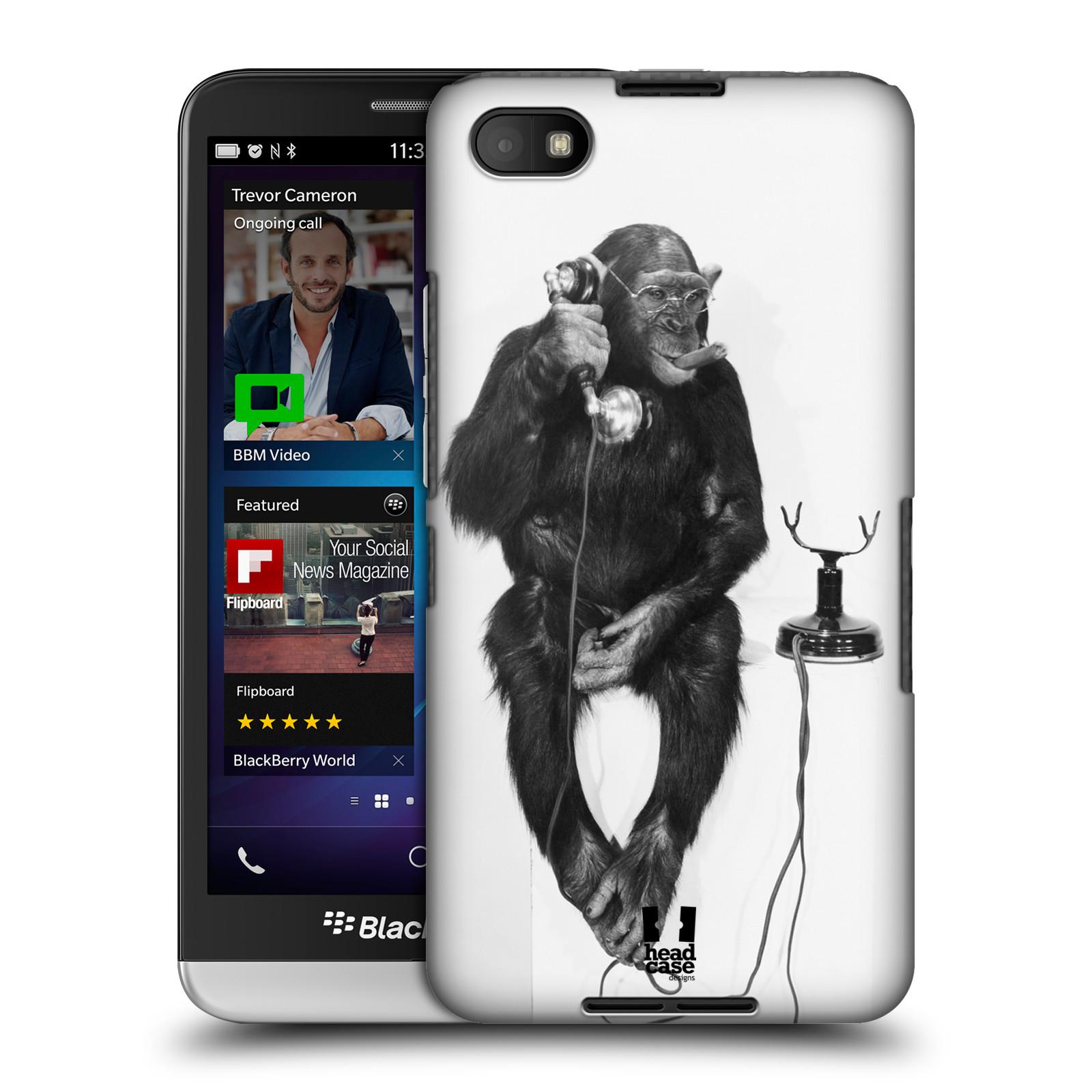 Plastové pouzdro na mobil Blackberry Z30 HEAD CASE OPIČÁK S TELEFONEM (Kryt či obal na mobilní telefon Blackberry Z30)