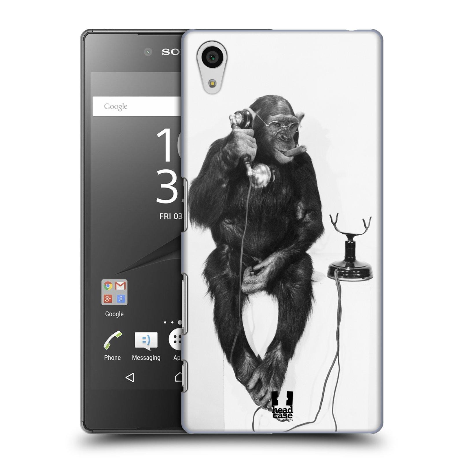 Plastové pouzdro na mobil Sony Xperia Z5 HEAD CASE OPIČÁK S TELEFONEM (Kryt či obal na mobilní telefon Sony Xperia Z5 E6653)