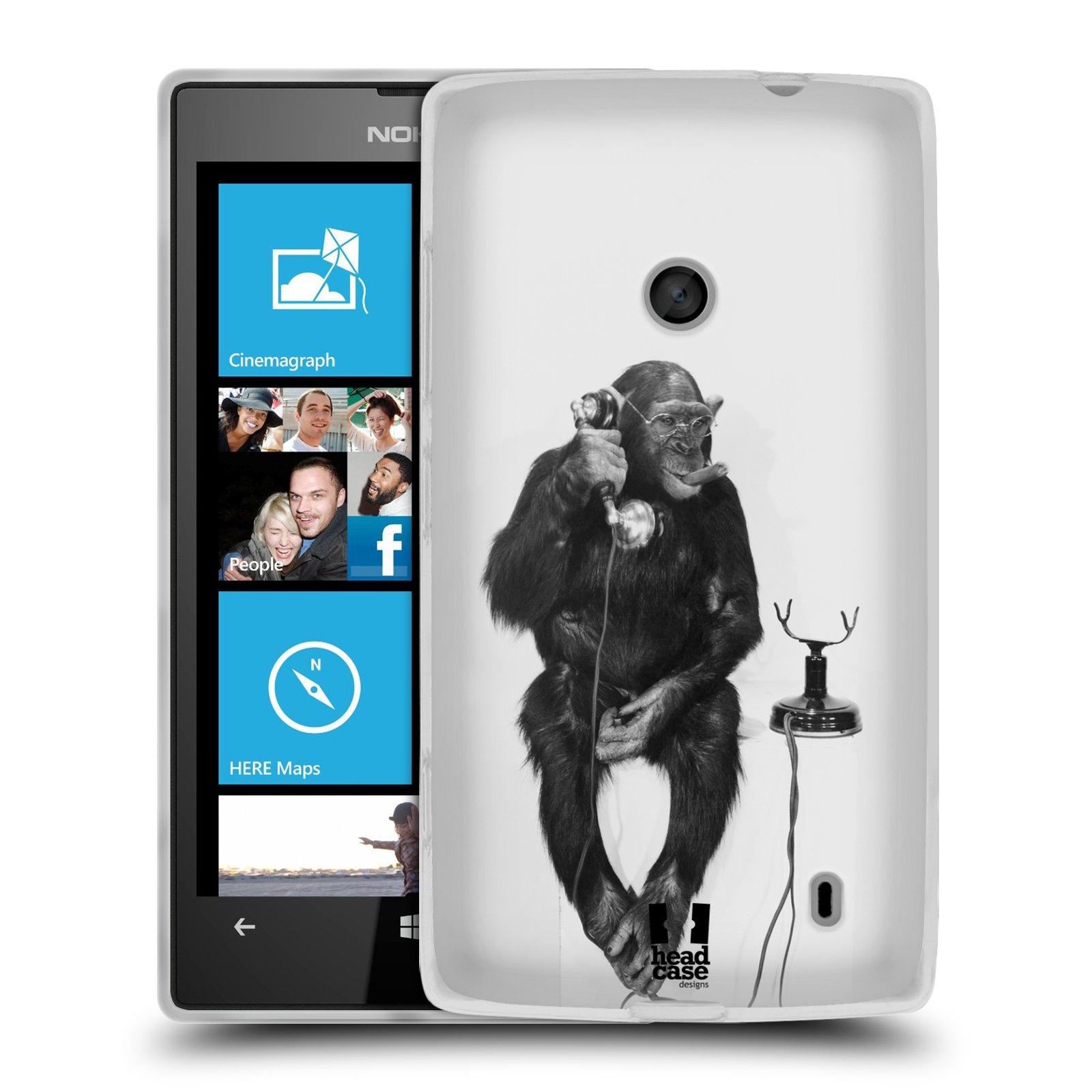 Silikonové pouzdro na mobil Nokia Lumia 520 HEAD CASE OPIČÁK S TELEFONEM (Silikonový Kryt či obal na mobilní telefon Nokia Lumia 520)
