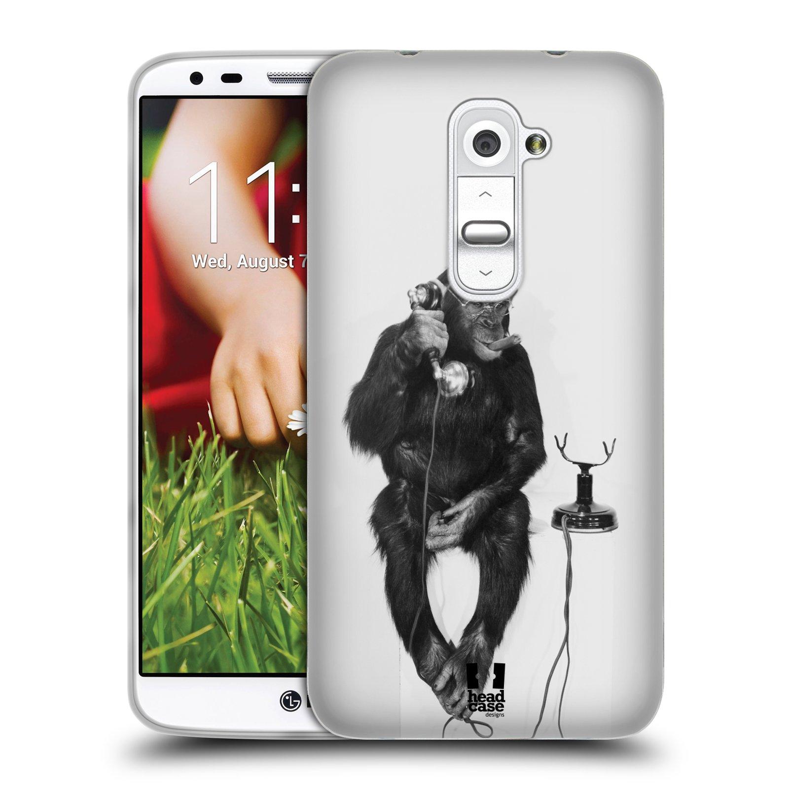 Silikonové pouzdro na mobil LG G2 HEAD CASE OPIČÁK S TELEFONEM (Silikonový kryt či obal na mobilní telefon LG G2 D802)