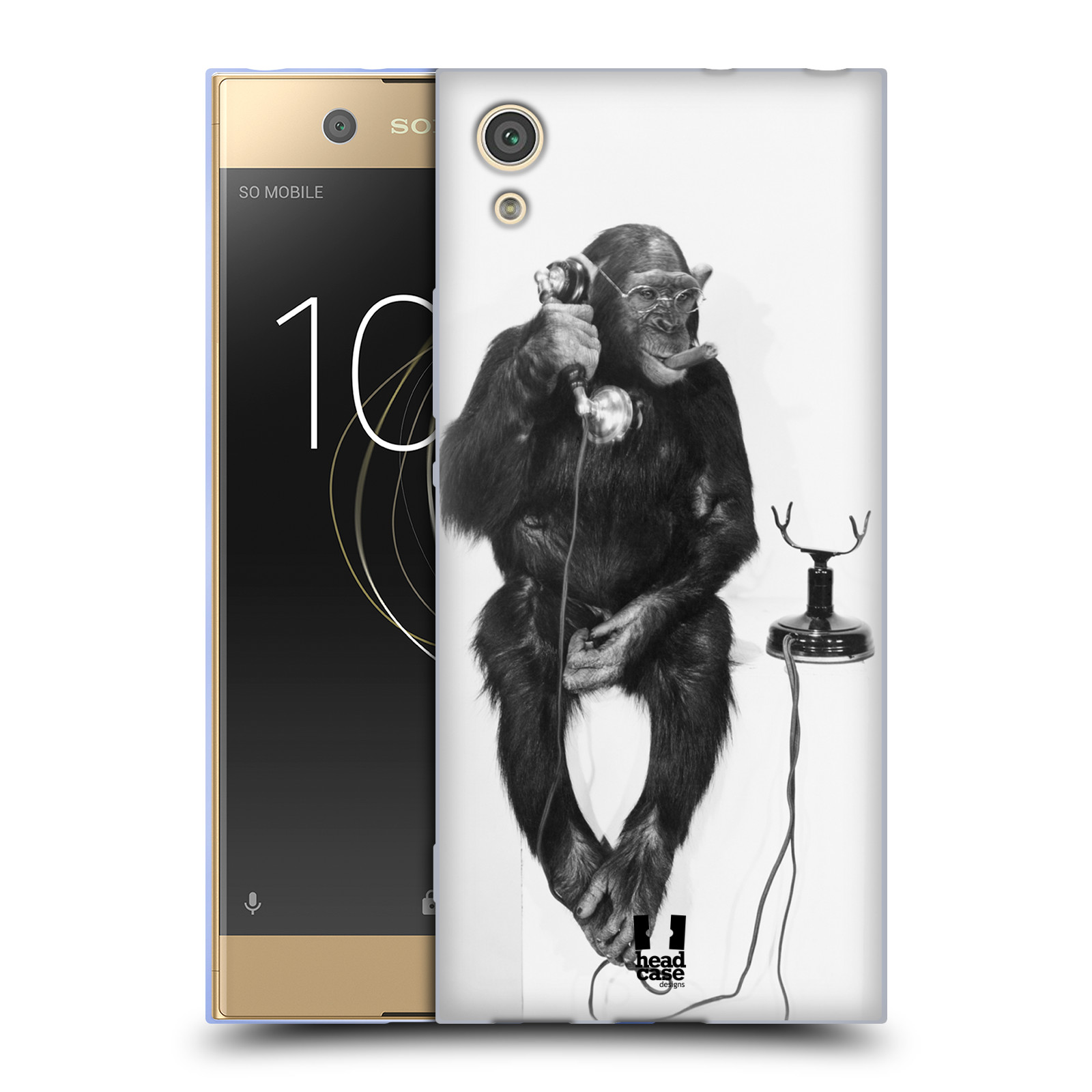 Silikonové pouzdro na mobil Sony Xperia XA1 - Head Case - OPIČÁK S TELEFONEM (Silikonový kryt či obal na mobilní telefon Sony Xperia XA1 G3121 s motivem OPIČÁK S TELEFONEM)