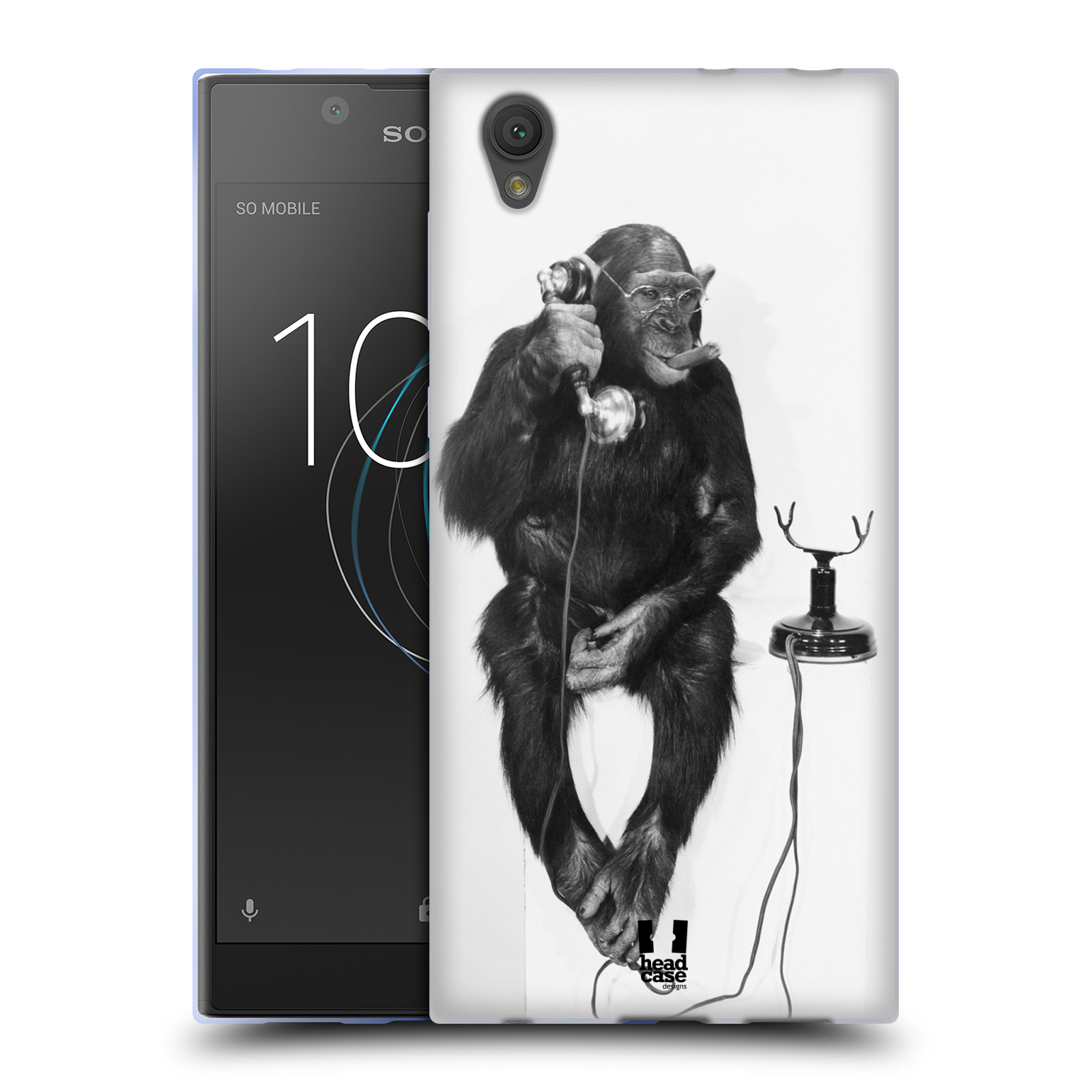 Silikonové pouzdro na mobil Sony Xperia L1 - Head Case - OPIČÁK S TELEFONEM (Silikonový kryt či obal na mobilní telefon Sony Xperia L1 G3311 s motivem OPIČÁK S TELEFONEM)