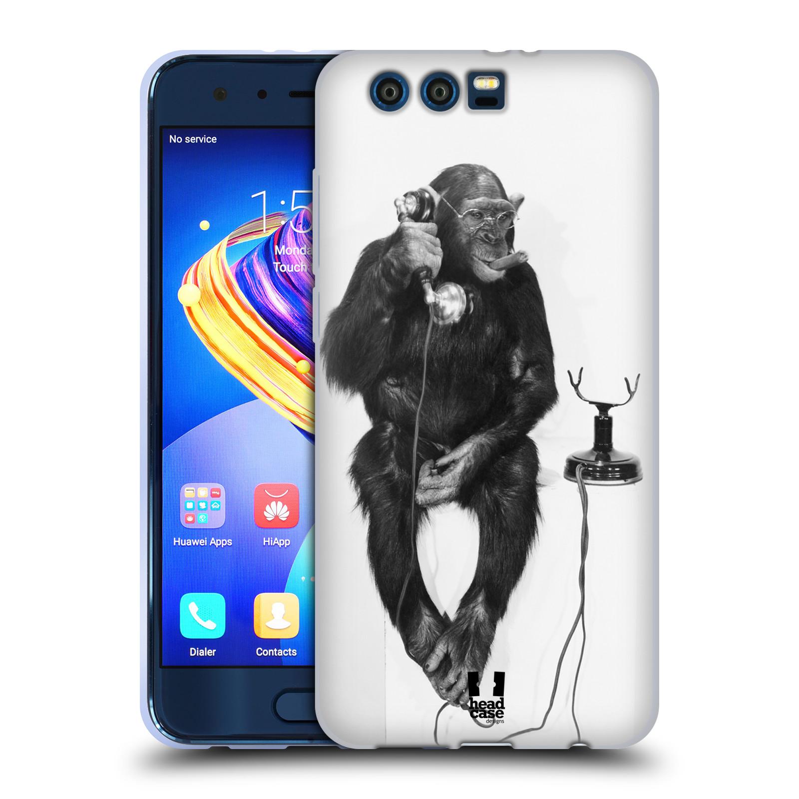 Silikonové pouzdro na mobil Honor 9 - Head Case - OPIČÁK S TELEFONEM (Silikonový kryt či obal na mobilní telefon Honor 9 s motivem OPIČÁK S TELEFONEM)