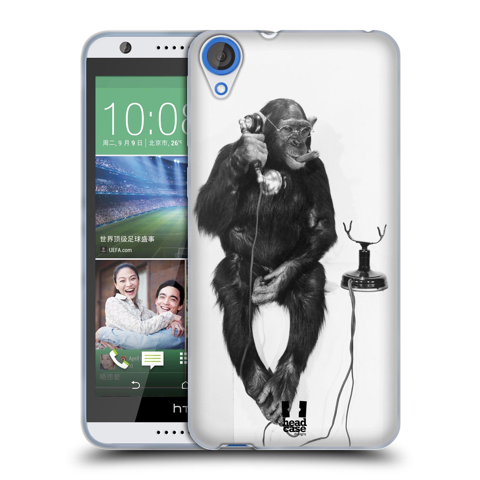 Silikonové pouzdro na mobil HTC Desire 820 HEAD CASE OPIČÁK S TELEFONEM (Silikonový kryt či obal na mobilní telefon HTC Desire 820)