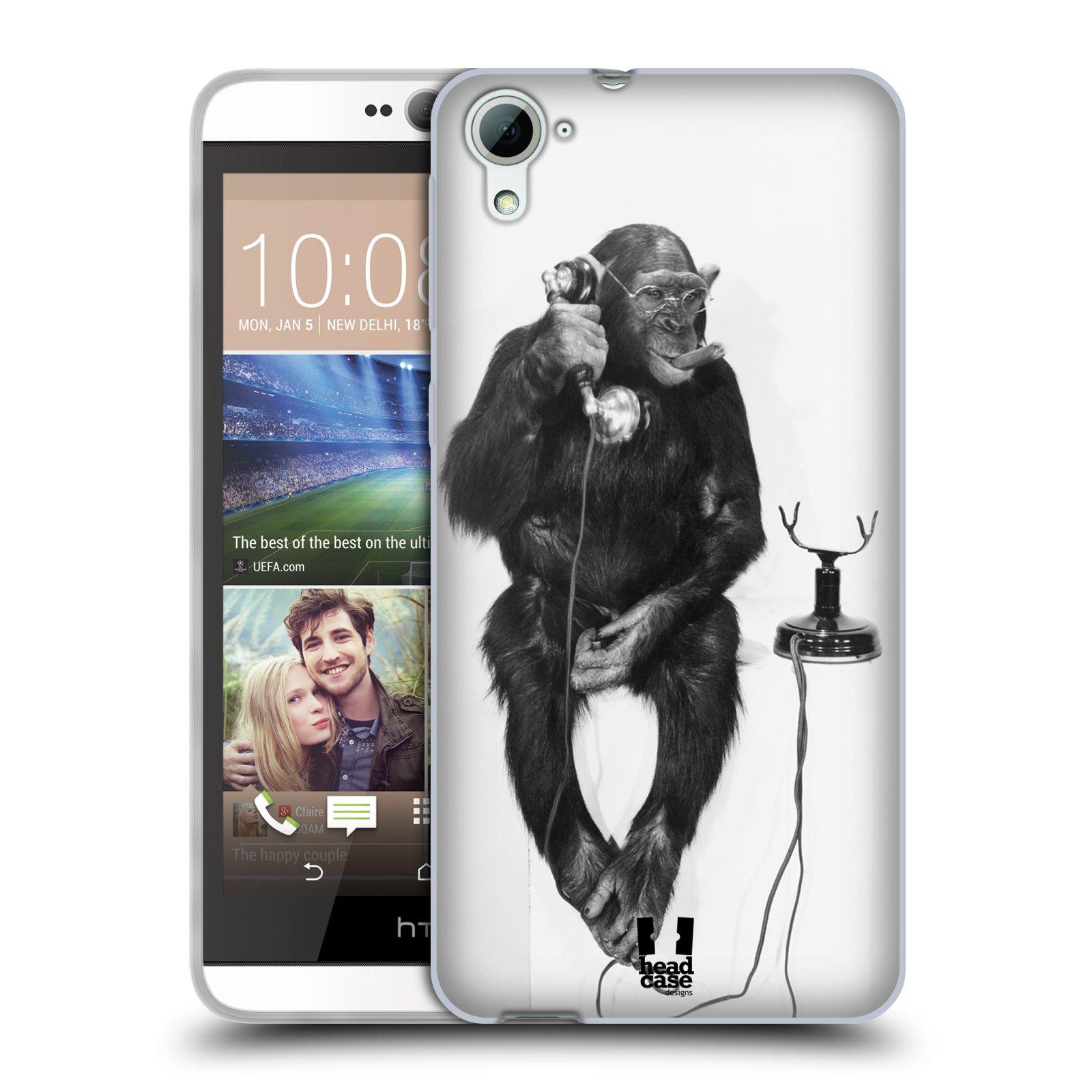 Silikonové pouzdro na mobil HTC Desire 826 HEAD CASE OPIČÁK S TELEFONEM (Silikonový kryt či obal na mobilní telefon HTC Desire 826 Dual SIM)