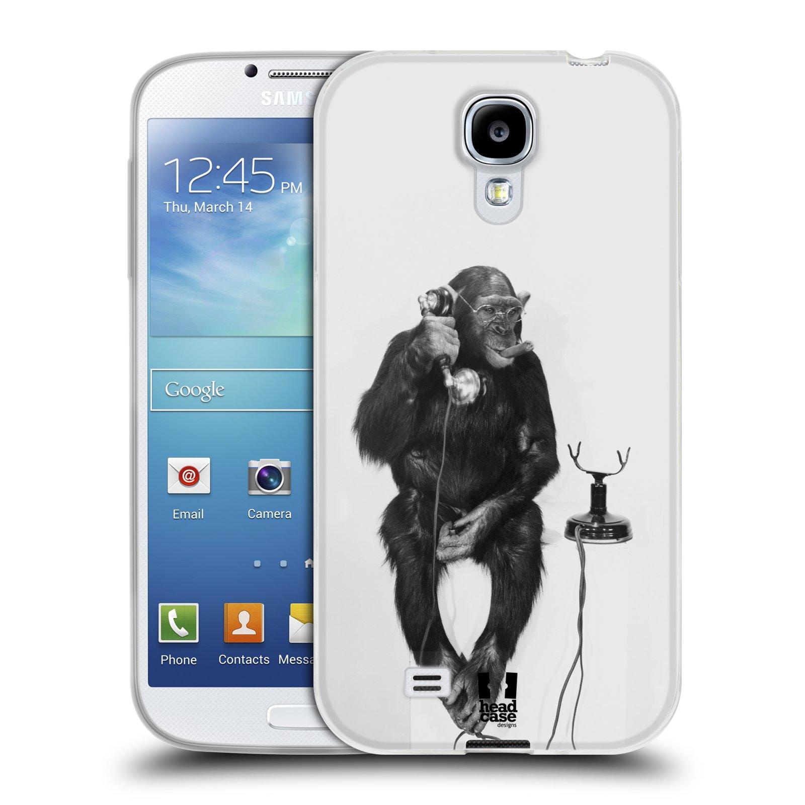 Silikonové pouzdro na mobil Samsung Galaxy S4 HEAD CASE OPIČÁK S TELEFONEM (Silikonový kryt či obal na mobilní telefon Samsung Galaxy S4 GT-i9505 / i9500)