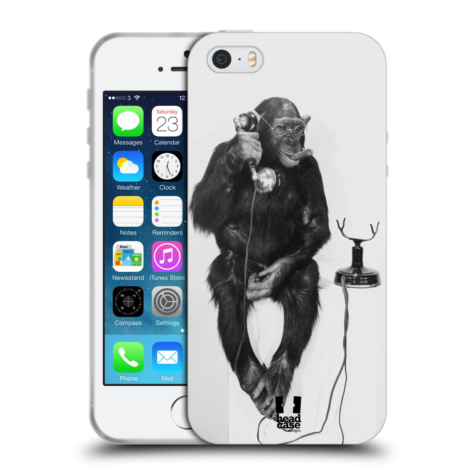 Silikonové pouzdro na mobil Apple iPhone SE, 5 a 5S HEAD CASE OPIČÁK S TELEFONEM (Silikonový kryt či obal na mobilní telefon Apple iPhone SE, 5 a 5S)