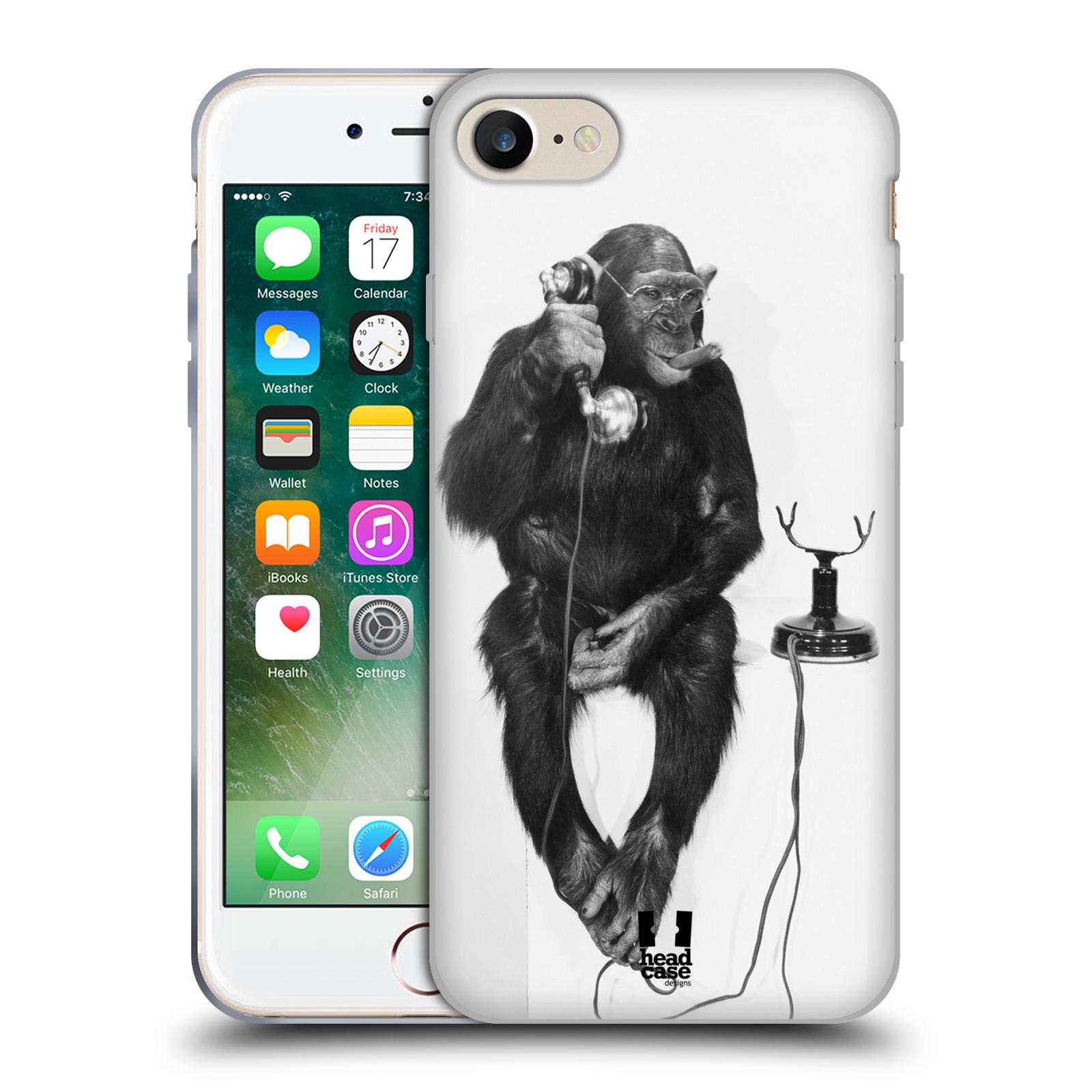 Silikonové pouzdro na mobil Apple iPhone 8 - Head Case - OPIČÁK S TELEFONEM (Silikonový kryt či obal na mobilní telefon Apple iPhone 8 s motivem OPIČÁK S TELEFONEM)
