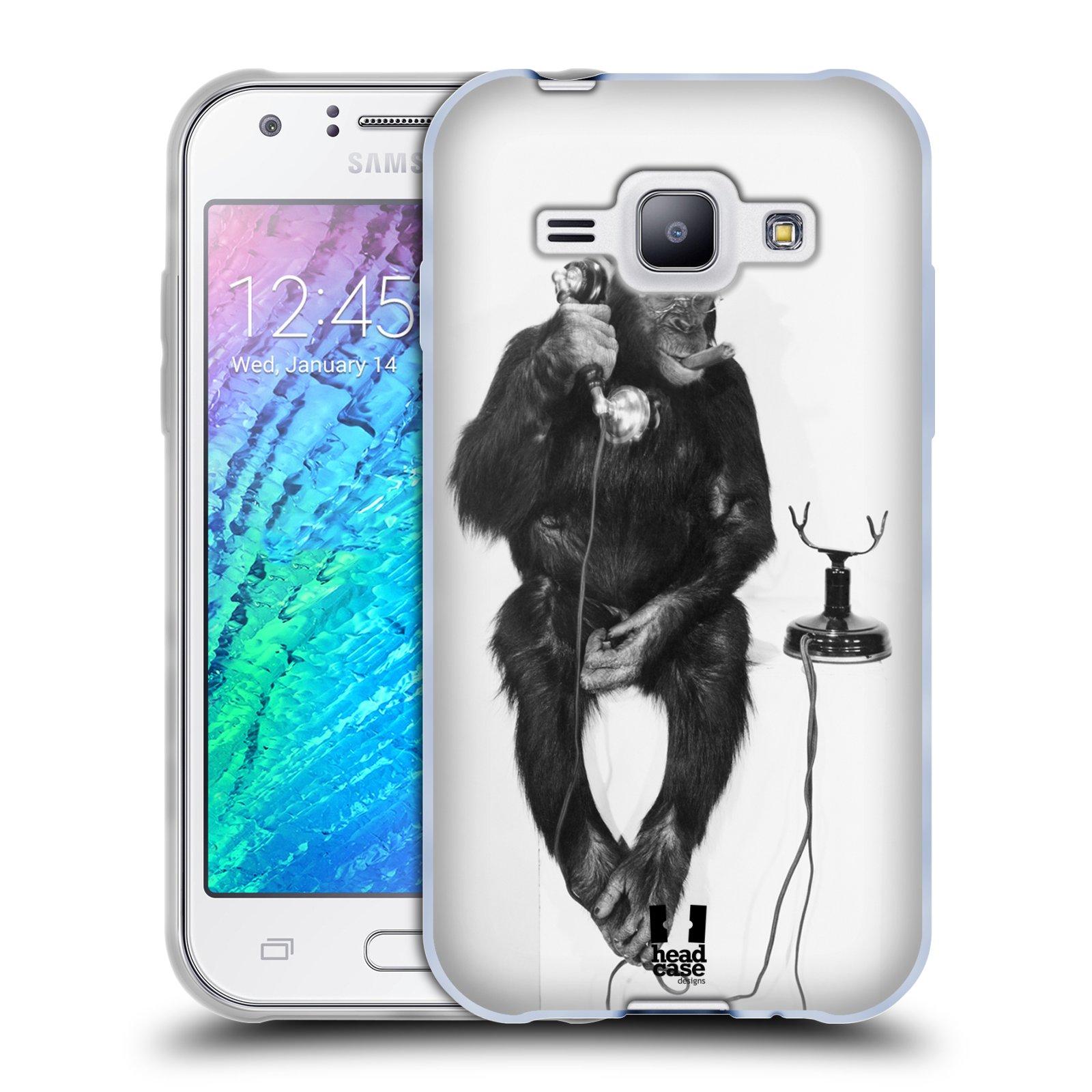 Silikonové pouzdro na mobil Samsung Galaxy J1 HEAD CASE OPIČÁK S TELEFONEM (Silikonový kryt či obal na mobilní telefon Samsung Galaxy J1 a J1 Duos)