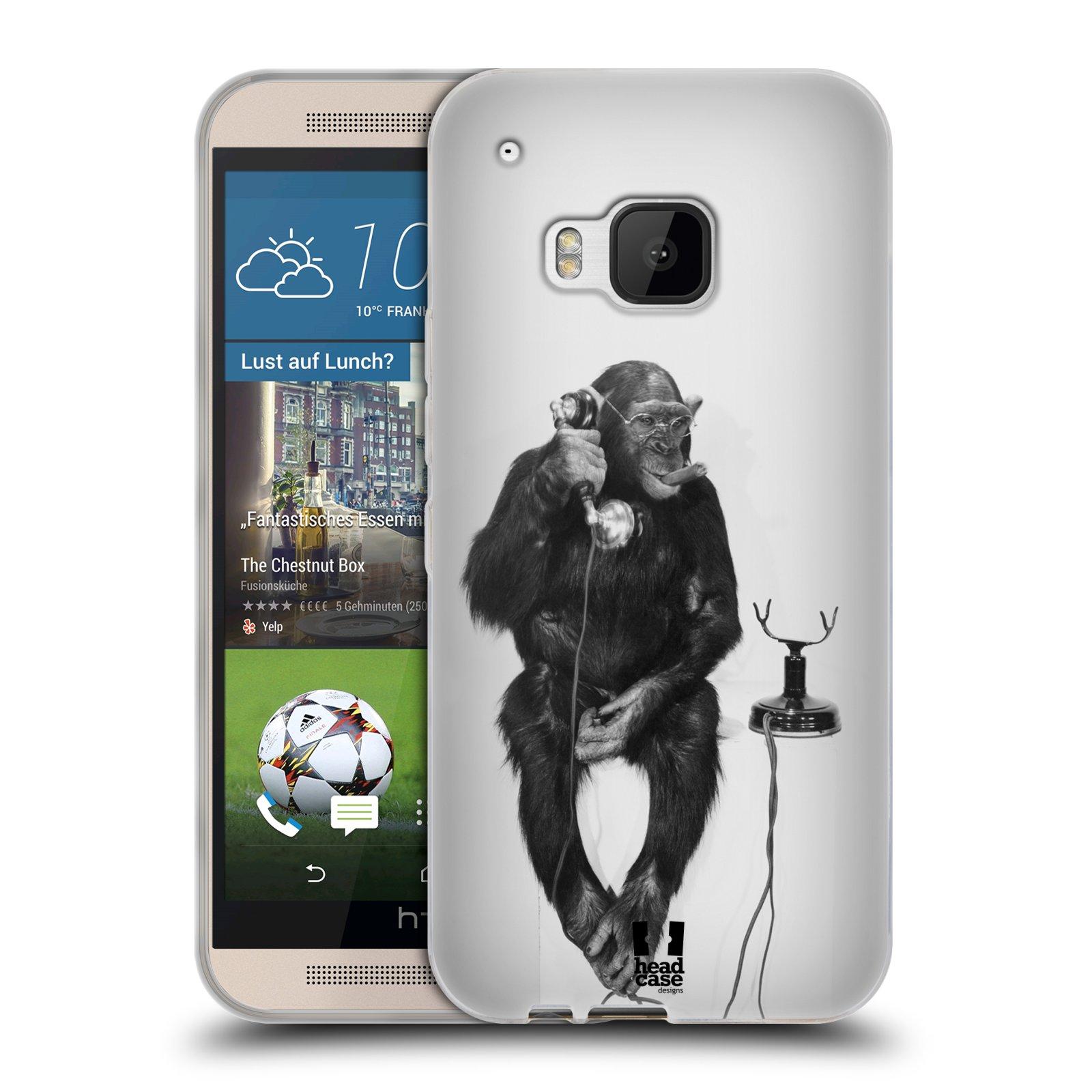Silikonové pouzdro na mobil HTC ONE M9 HEAD CASE OPIČÁK S TELEFONEM (Silikonový kryt či obal na mobilní telefon HTC ONE M9)