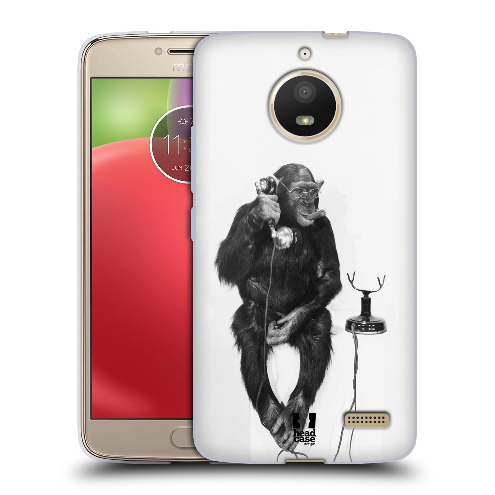 Silikonové pouzdro na mobil Lenovo Moto E4 - Head Case - OPIČÁK S TELEFONEM (Silikonový kryt či obal na mobilní telefon Lenovo Moto E4 s motivem OPIČÁK S TELEFONEM)