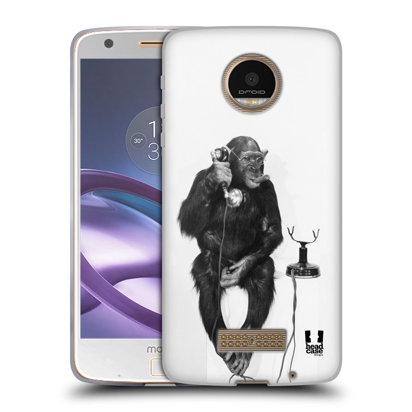 Silikonové pouzdro na mobil Lenovo Moto Z HEAD CASE OPIČÁK S TELEFONEM (Silikonový kryt či obal na mobilní telefon Lenovo Moto Z)