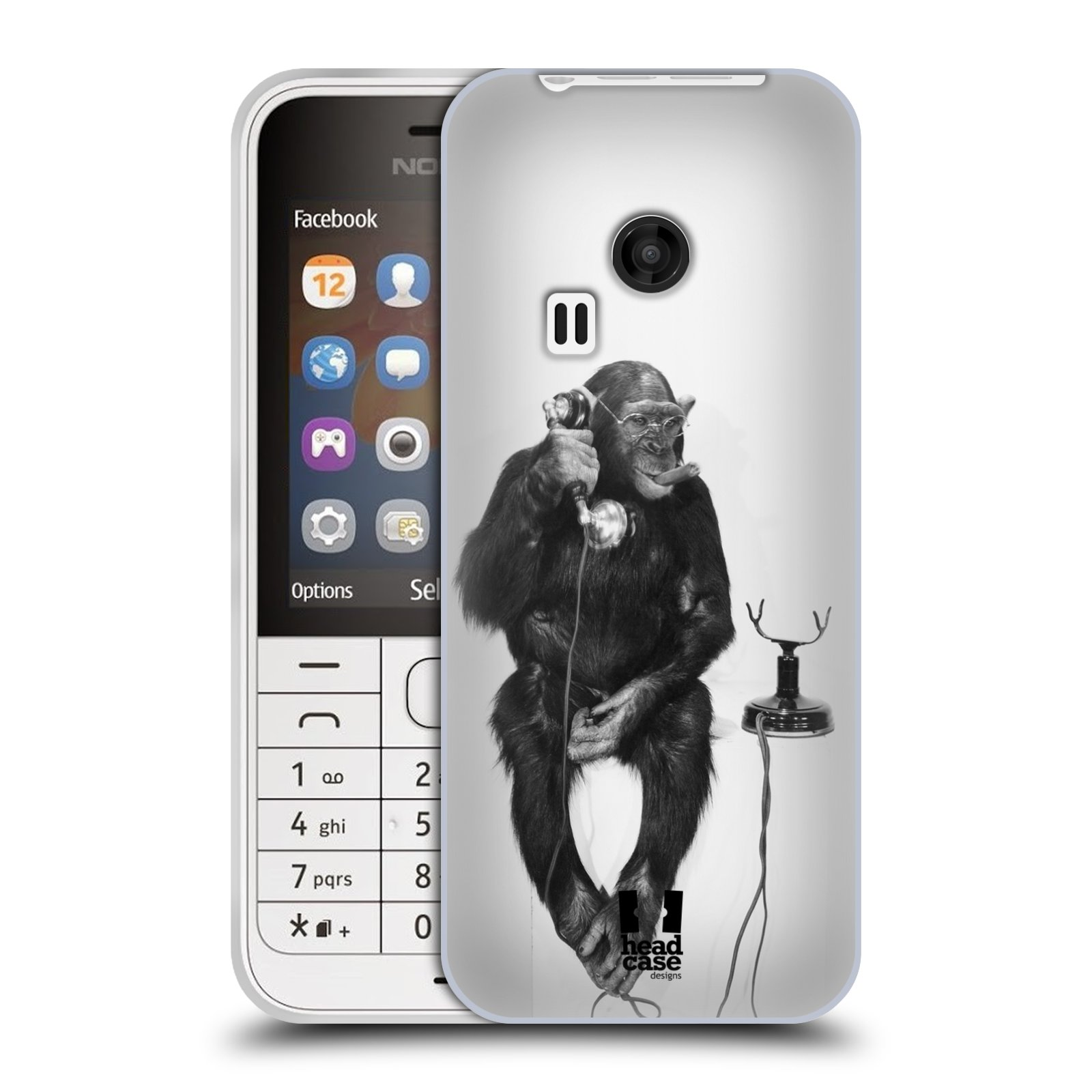 Silikonové pouzdro na mobil Nokia 220 HEAD CASE OPIČÁK S TELEFONEM