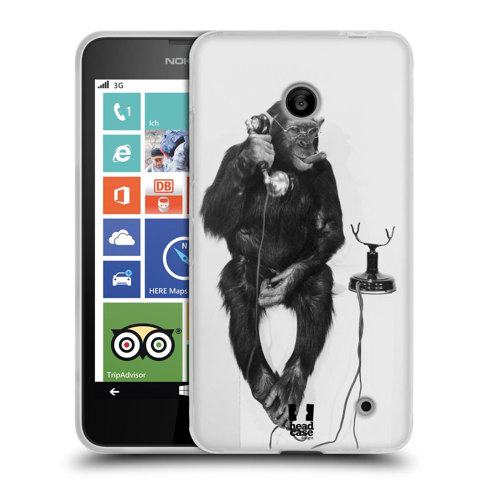 Silikonové pouzdro na mobil Nokia Lumia 630 HEAD CASE OPIČÁK S TELEFONEM (Silikonový kryt či obal na mobilní telefon Nokia Lumia 630 a Nokia Lumia 630 Dual SIM)