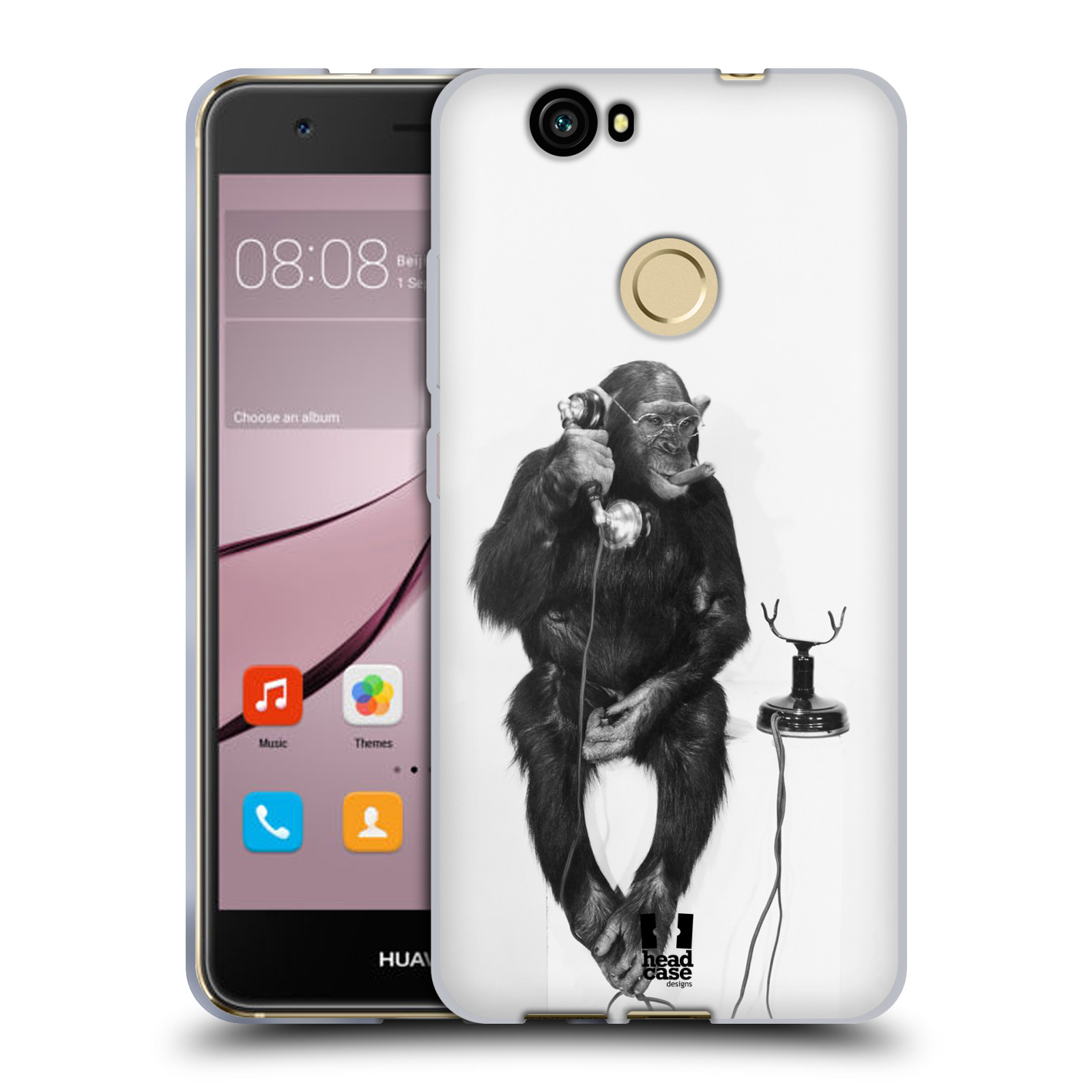 Silikonové pouzdro na mobil Huawei Nova - Head Case - OPIČÁK S TELEFONEM (Silikonový kryt či obal na mobilní telefon Huawei Nova)
