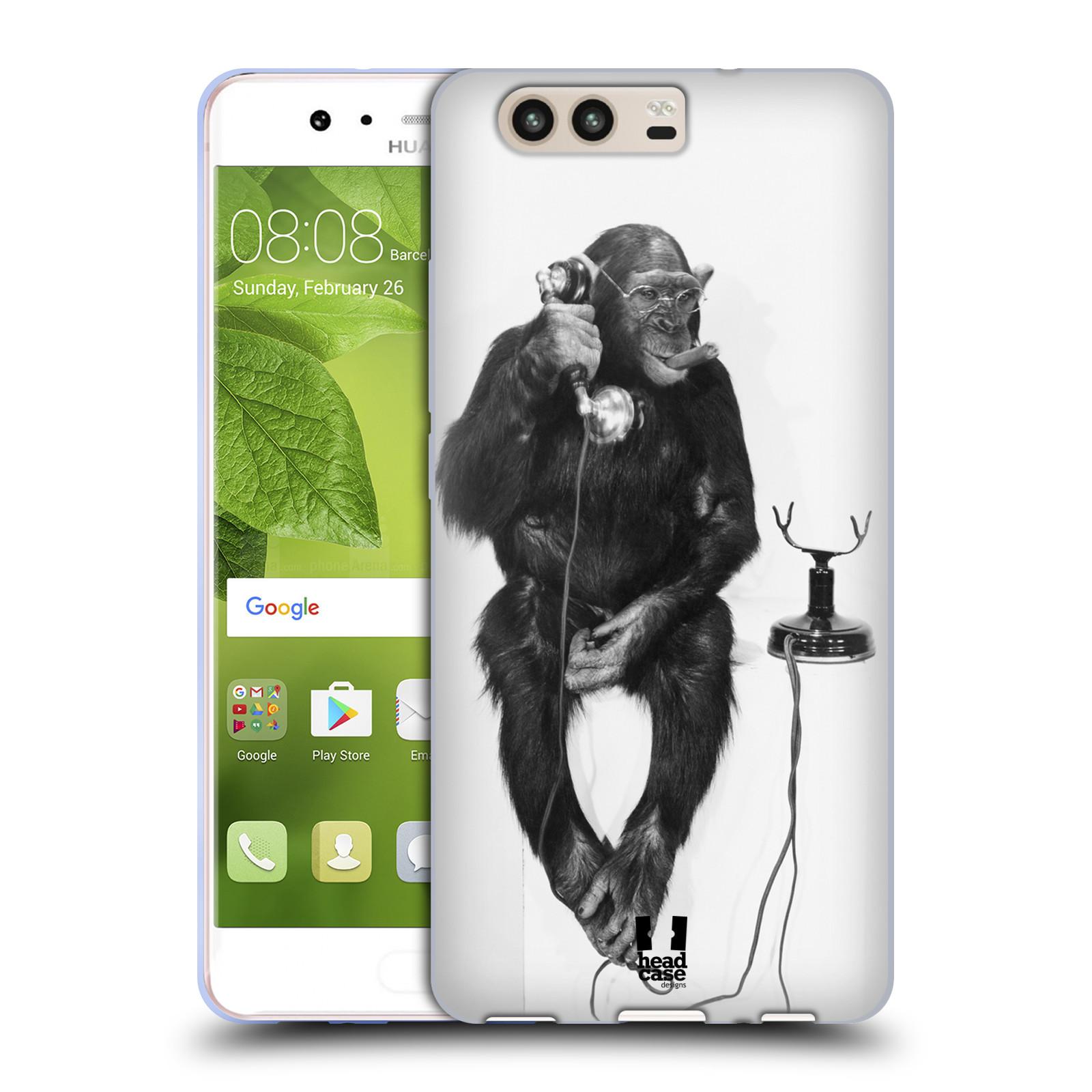 Silikonové pouzdro na mobil Huawei P10 - Head Case - OPIČÁK S TELEFONEM (Silikonový kryt či obal na mobilní telefon Huawei P10)