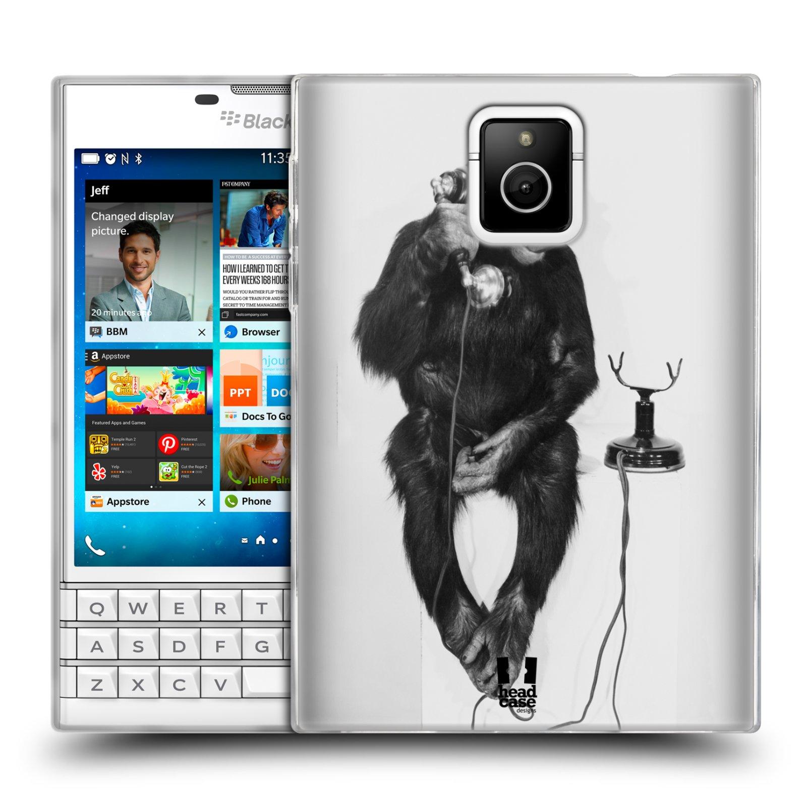 Silikonové pouzdro na mobil Blackberry PASSPORT HEAD CASE OPIČÁK S TELEFONEM (Silikonový kryt či obal na mobilní telefon Blackberry PASSPORT)