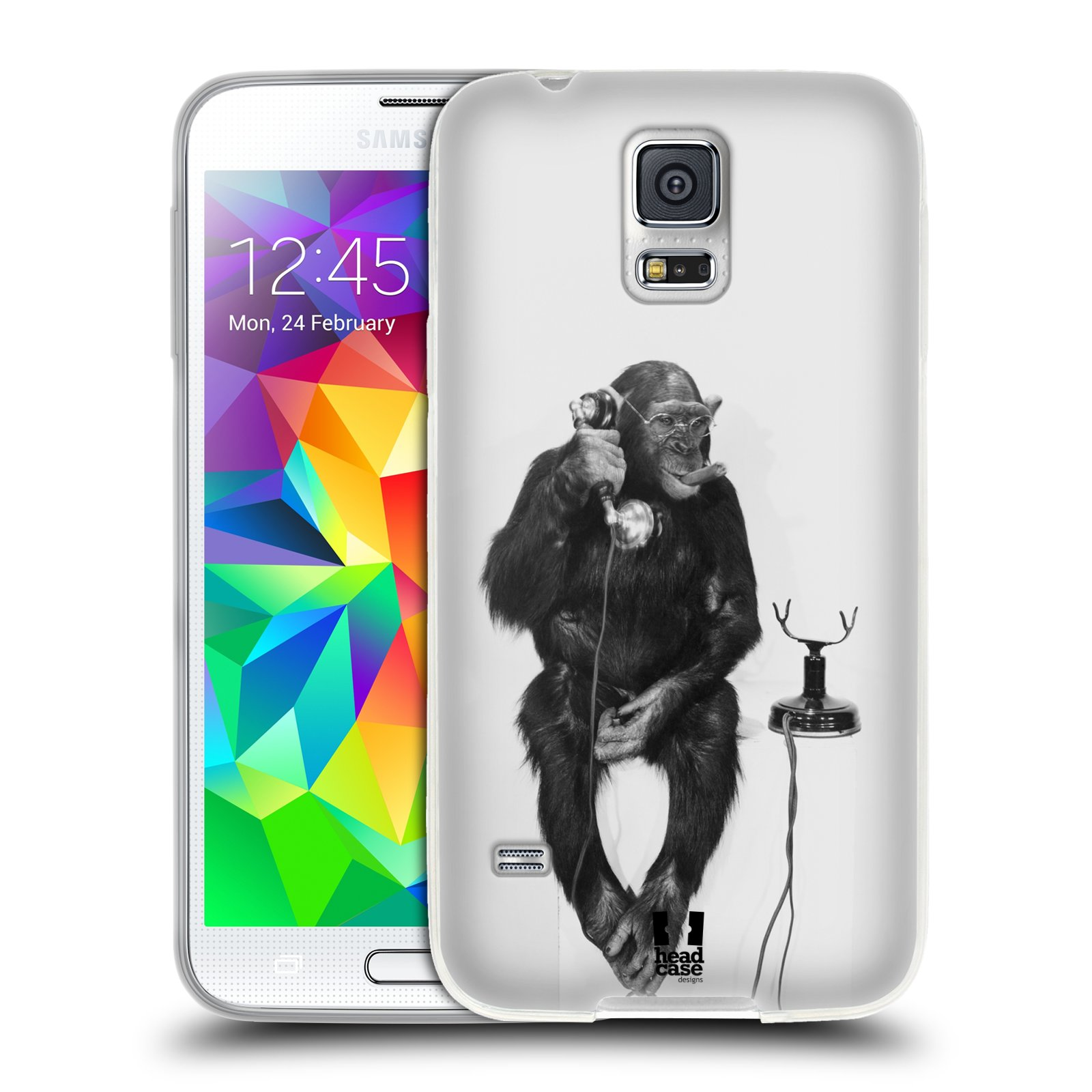 Silikonové pouzdro na mobil Samsung Galaxy S5 HEAD CASE OPIČÁK S TELEFONEM (Silikonový kryt či obal na mobilní telefon Samsung Galaxy S5 SM-G900F)