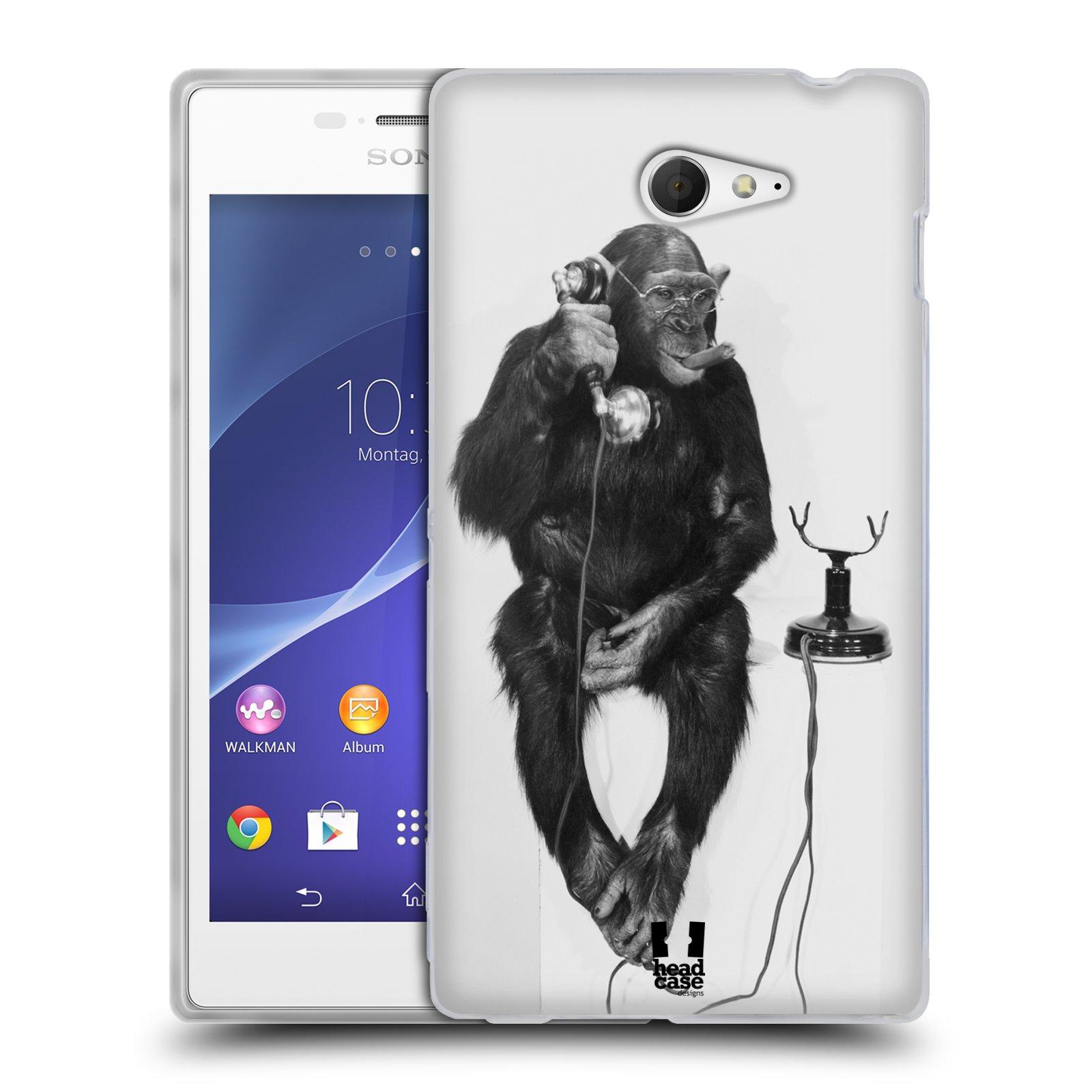Silikonové pouzdro na mobil Sony Xperia M2 D2303 HEAD CASE OPIČÁK S TELEFONEM (Silikonový Kryt či obal na mobilní telefon Sony Xperia M2)