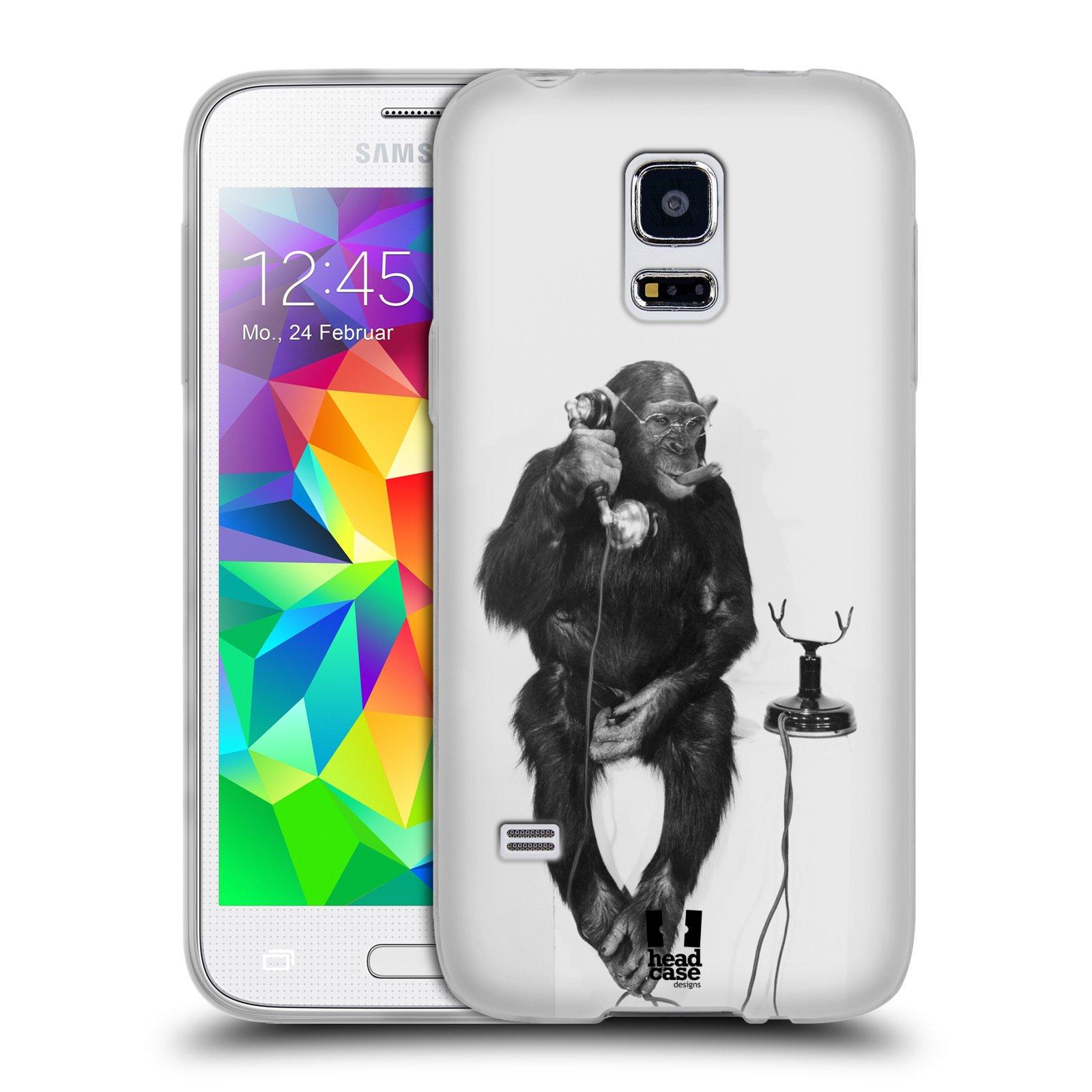 Silikonové pouzdro na mobil Samsung Galaxy S5 Mini HEAD CASE OPIČÁK S TELEFONEM (Silikonový kryt či obal na mobilní telefon Samsung Galaxy S5 Mini SM-G800F)