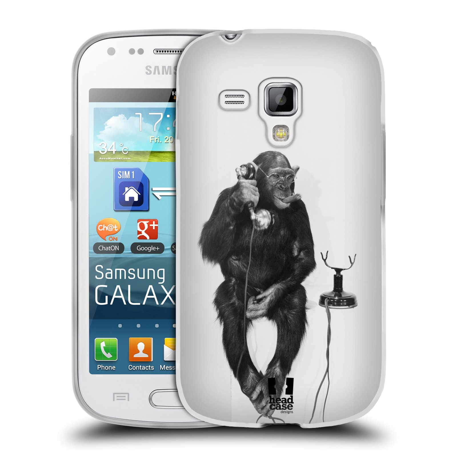 Silikonové pouzdro na mobil Samsung Galaxy Trend Plus HEAD CASE OPIČÁK S TELEFONEM (Silikonový kryt či obal na mobilní telefon Samsung Galaxy Trend Plus GT-S7580)