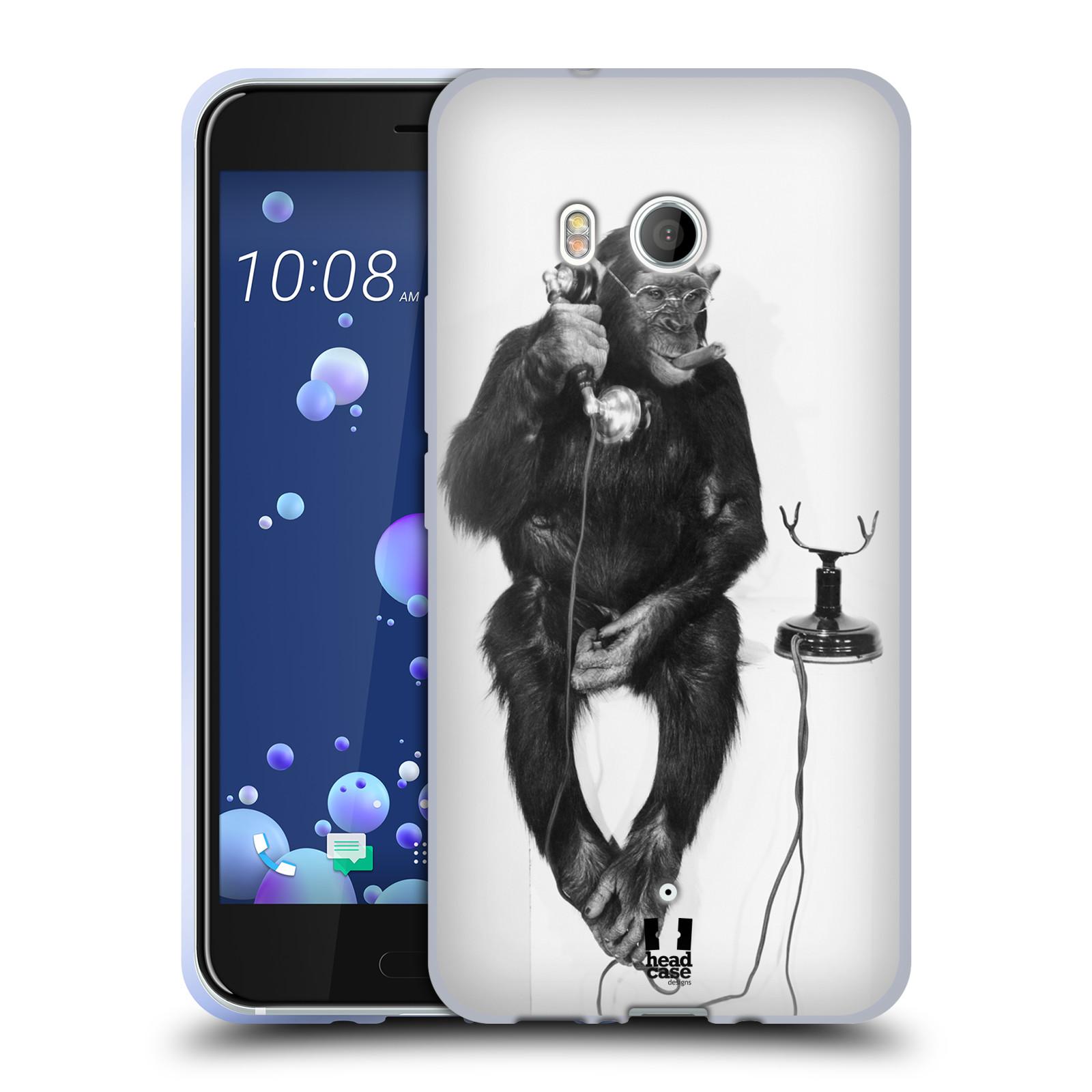 Silikonové pouzdro na mobil HTC U11 - Head Case - OPIČÁK S TELEFONEM (Silikonový kryt či obal na mobilní telefon HTC U11 s motivem OPIČÁK S TELEFONEM)