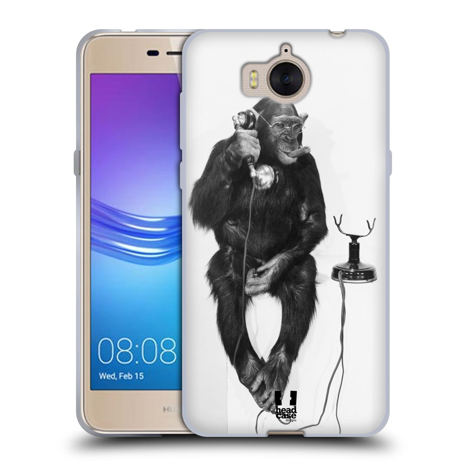Silikonové pouzdro na mobil Huawei Y6 2017 - Head Case - OPIČÁK S TELEFONEM (Silikonový kryt či obal na mobilní telefon Huawei Y6 (2017) s motivem OPIČÁK S TELEFONEM)