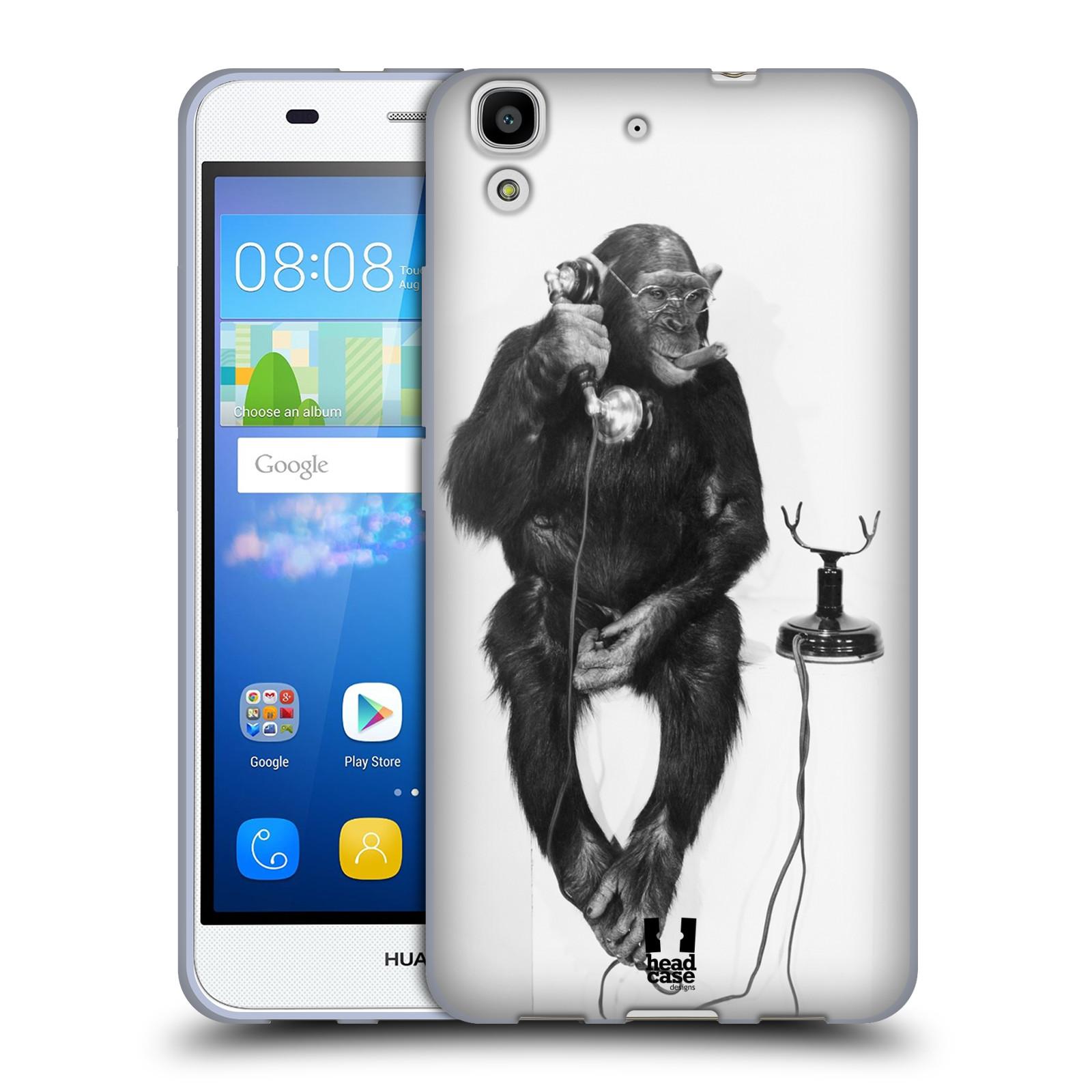 Silikonové pouzdro na mobil Huawei Y6 HEAD CASE OPIČÁK S TELEFONEM