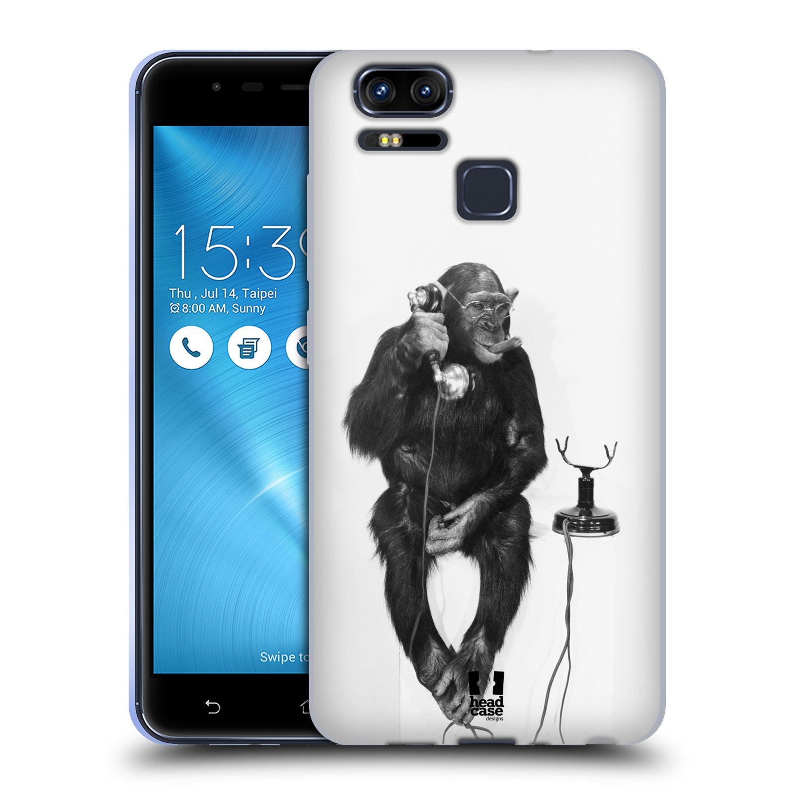Silikonové pouzdro na mobil Asus ZenFone 3 ZOOM ZE553KL - Head Case - OPIČÁK S TELEFONEM (Silikonový kryt či obal na mobilní telefon Asus ZenFone 3 ZOOM ZE553KL s motivem OPIČÁK S TELEFONEM)