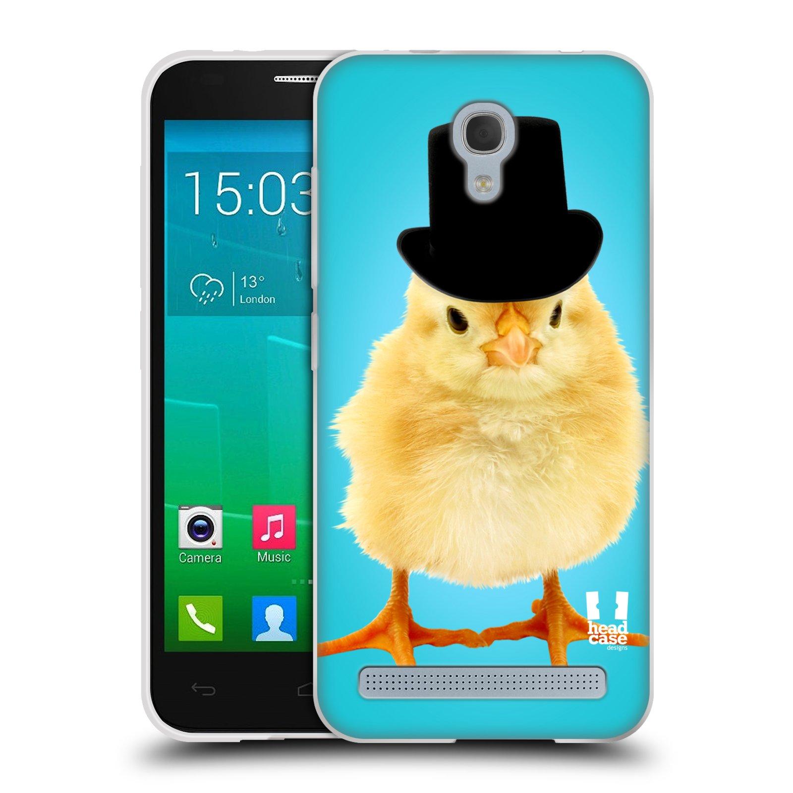 Silikonové pouzdro na mobil Alcatel One Touch Idol 2 Mini S 6036Y HEAD CASE KUŘE S KLÓBRCEM (Silikonový kryt či obal na mobilní telefon Alcatel Idol 2 Mini S OT-6036Y)