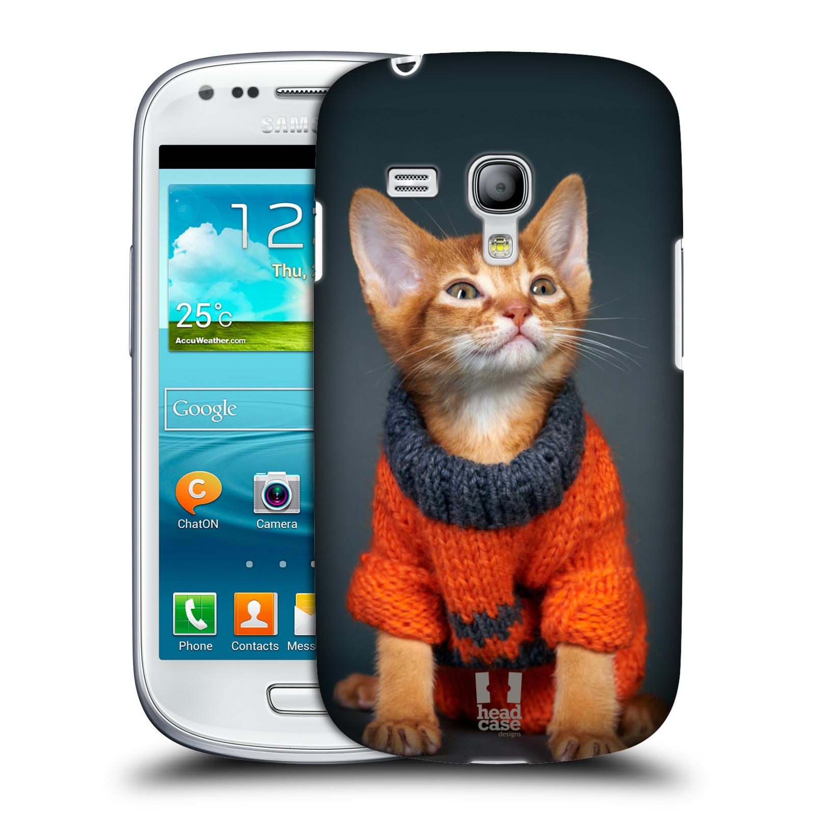 Plastové pouzdro na mobil Samsung Galaxy S3 Mini VE HEAD CASE KOTĚ VE SVETRU (Kryt či obal na mobilní telefon Samsung Galaxy S3 Mini VE GT-i8200)