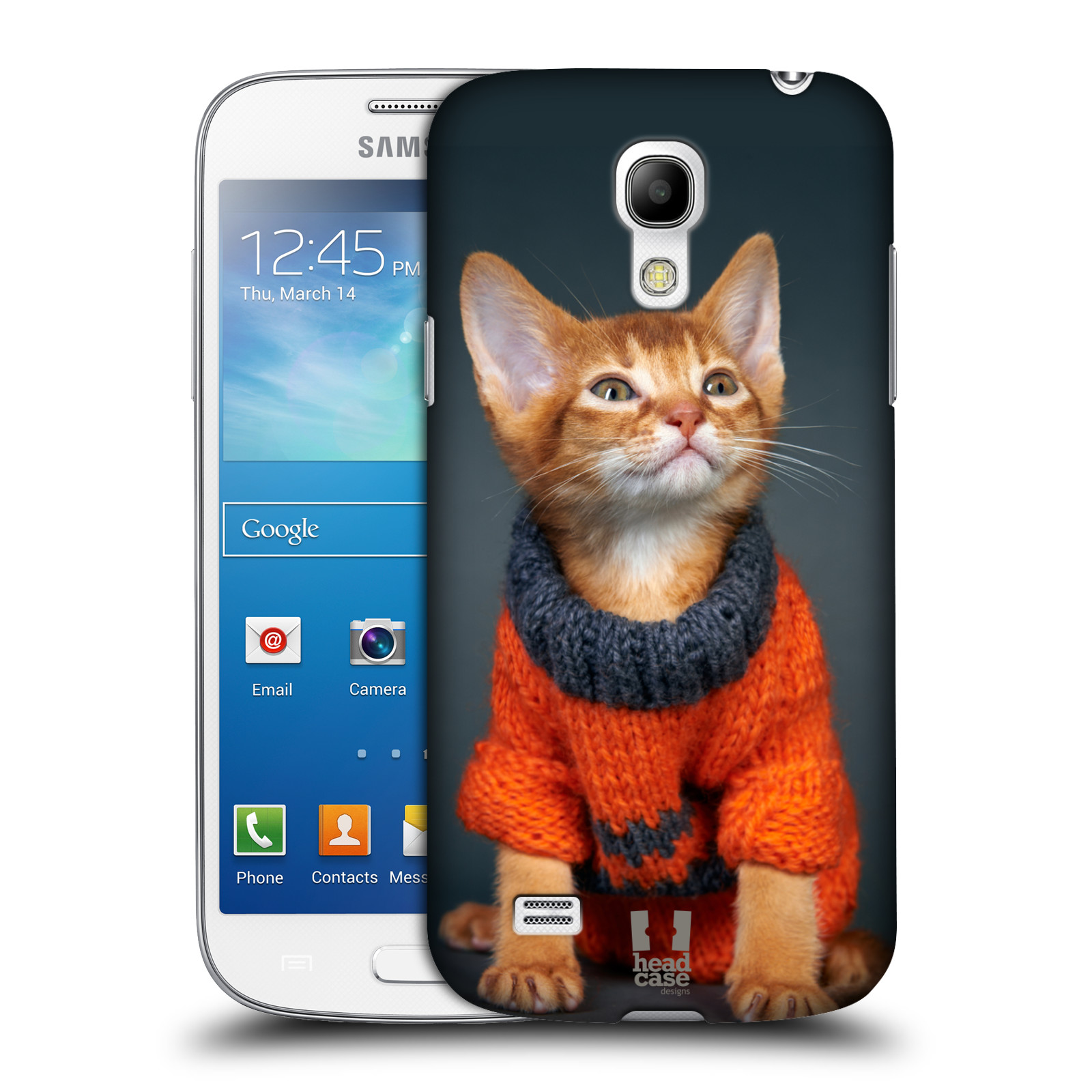 Plastové pouzdro na mobil Samsung Galaxy S4 Mini VE HEAD CASE KOTĚ VE SVETRU (Kryt či obal na mobilní telefon Samsung Galaxy S4 Mini VE GT-i9195i (nepasuje na verzi Black Edition))