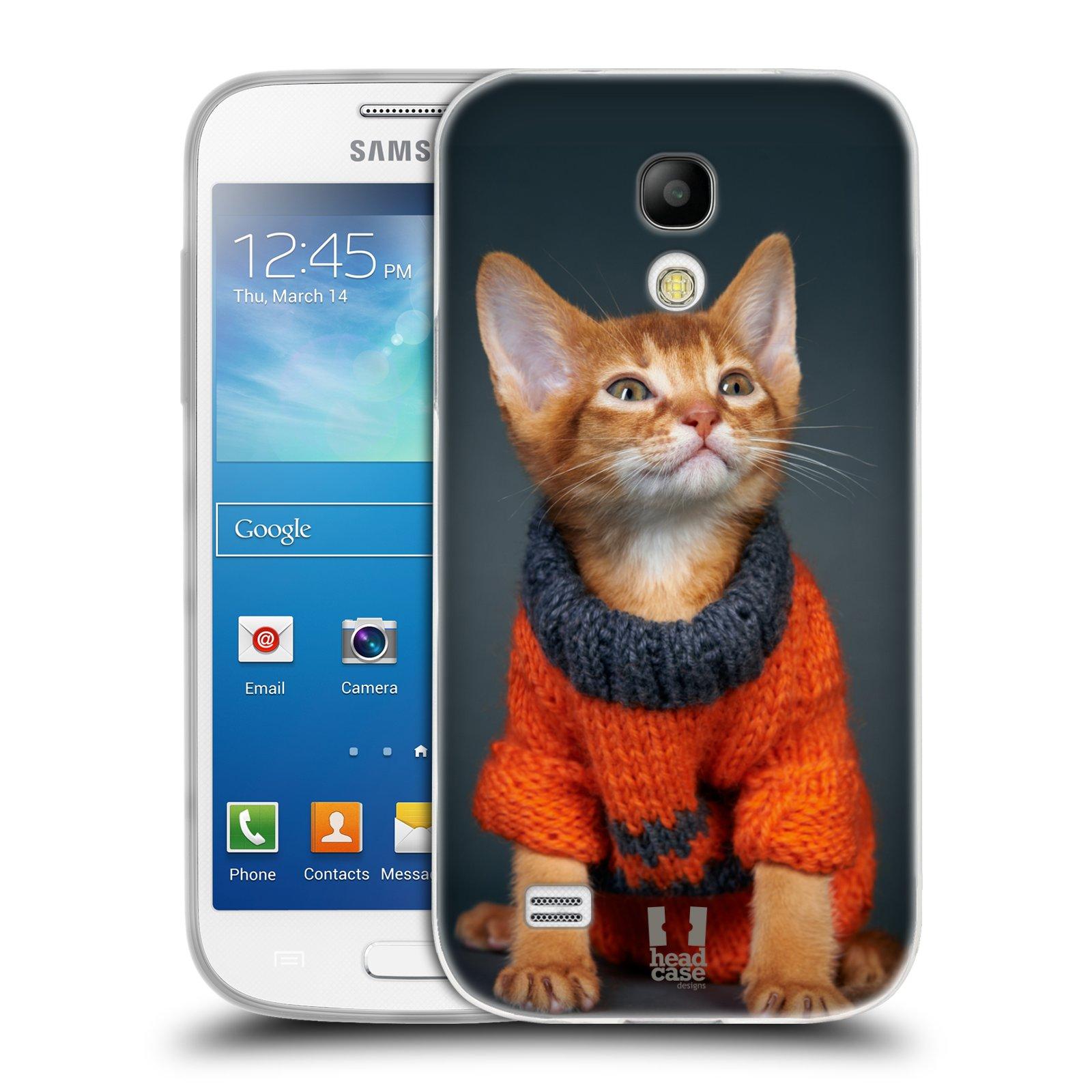 Silikonové pouzdro na mobil Samsung Galaxy S4 Mini VE HEAD CASE KOTĚ VE SVETRU (Silikonový kryt či obal na mobilní telefon Samsung Galaxy S4 Mini VE GT-i9195i (nepasuje na verzi Black Edition))
