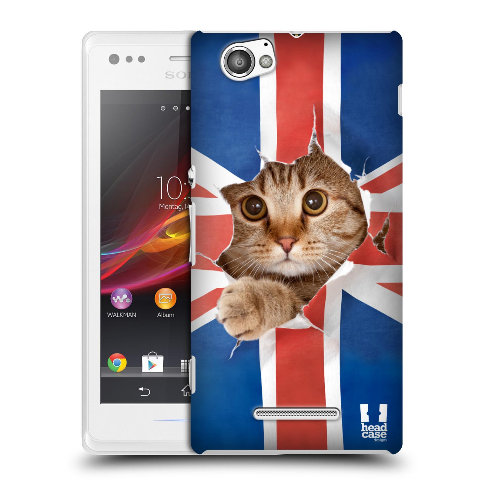 Plastové pouzdro na mobil Sony Xperia M C1905 HEAD CASE KOČKA A VLAJKA (Kryt či obal na mobilní telefon Sony Xperia M a M Dual)
