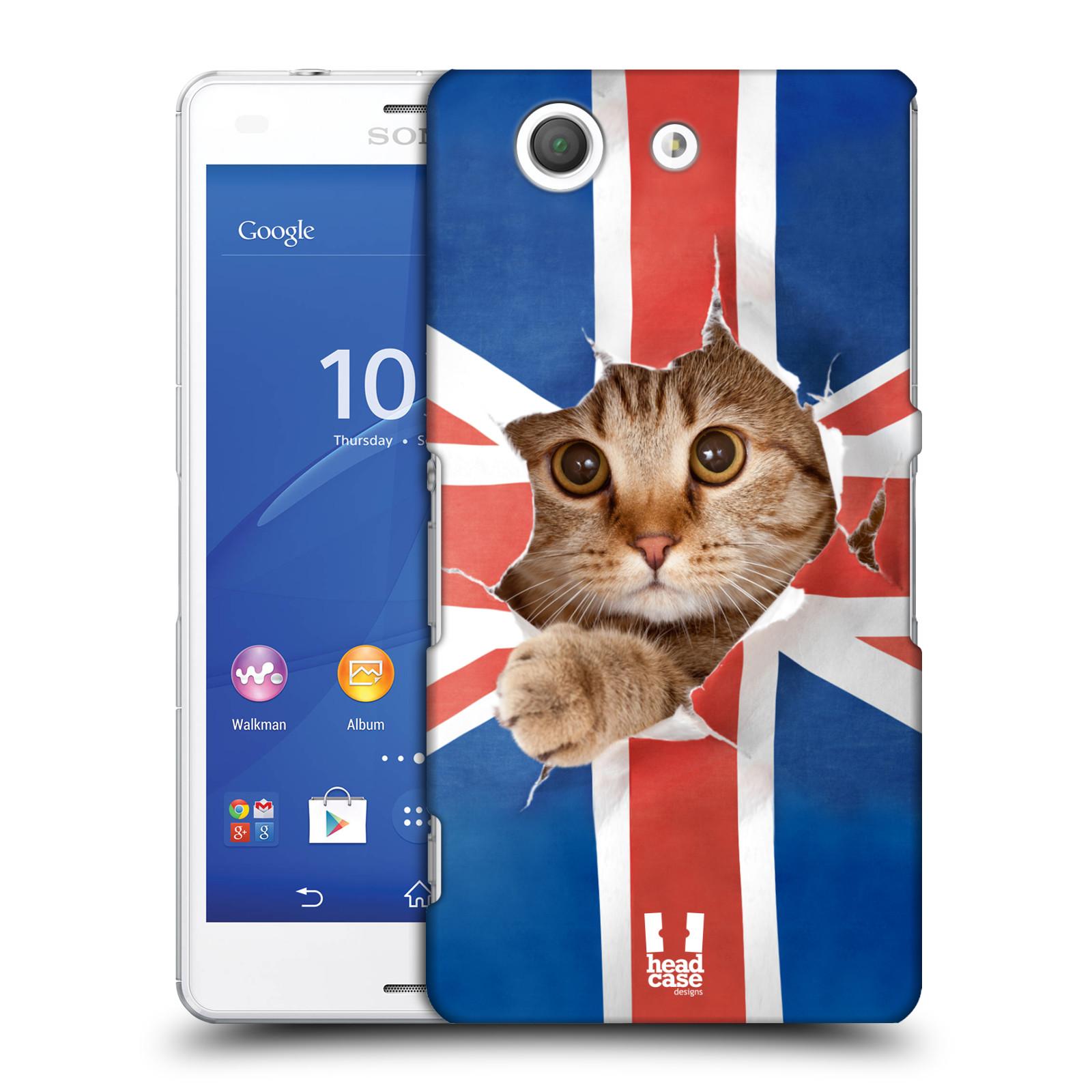 Plastové pouzdro na mobil Sony Xperia Z3 Compact D5803 HEAD CASE KOČKA A VLAJKA